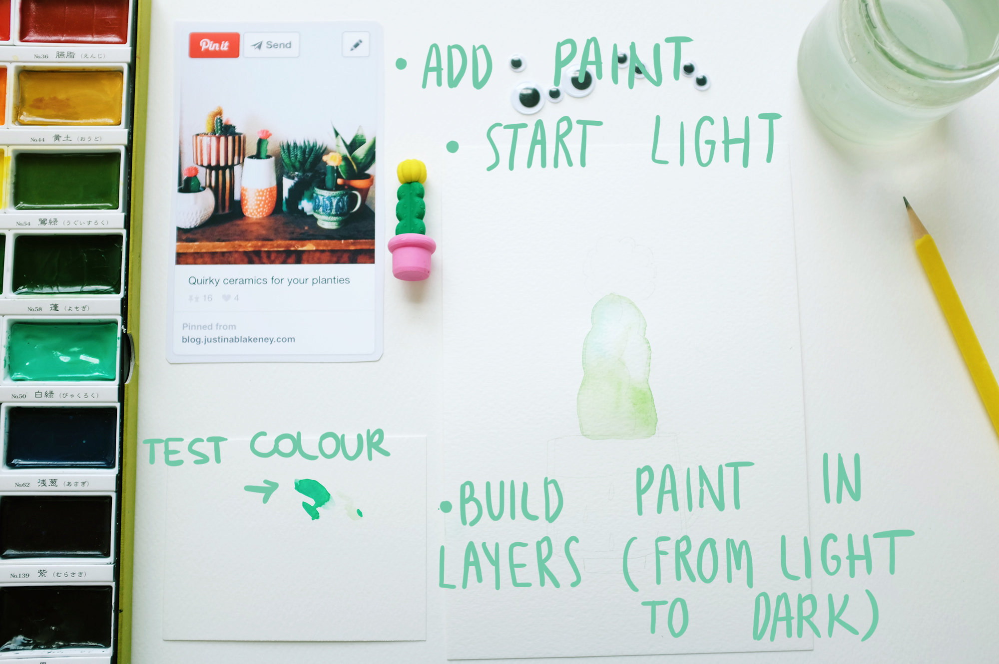 Start adding colour slowly and lightly. Build paint in layers, you can always make it more bright but it's hard to wipe off excess of paint (but you can use tissue if needed!). Use a little piece of paper to test colours.