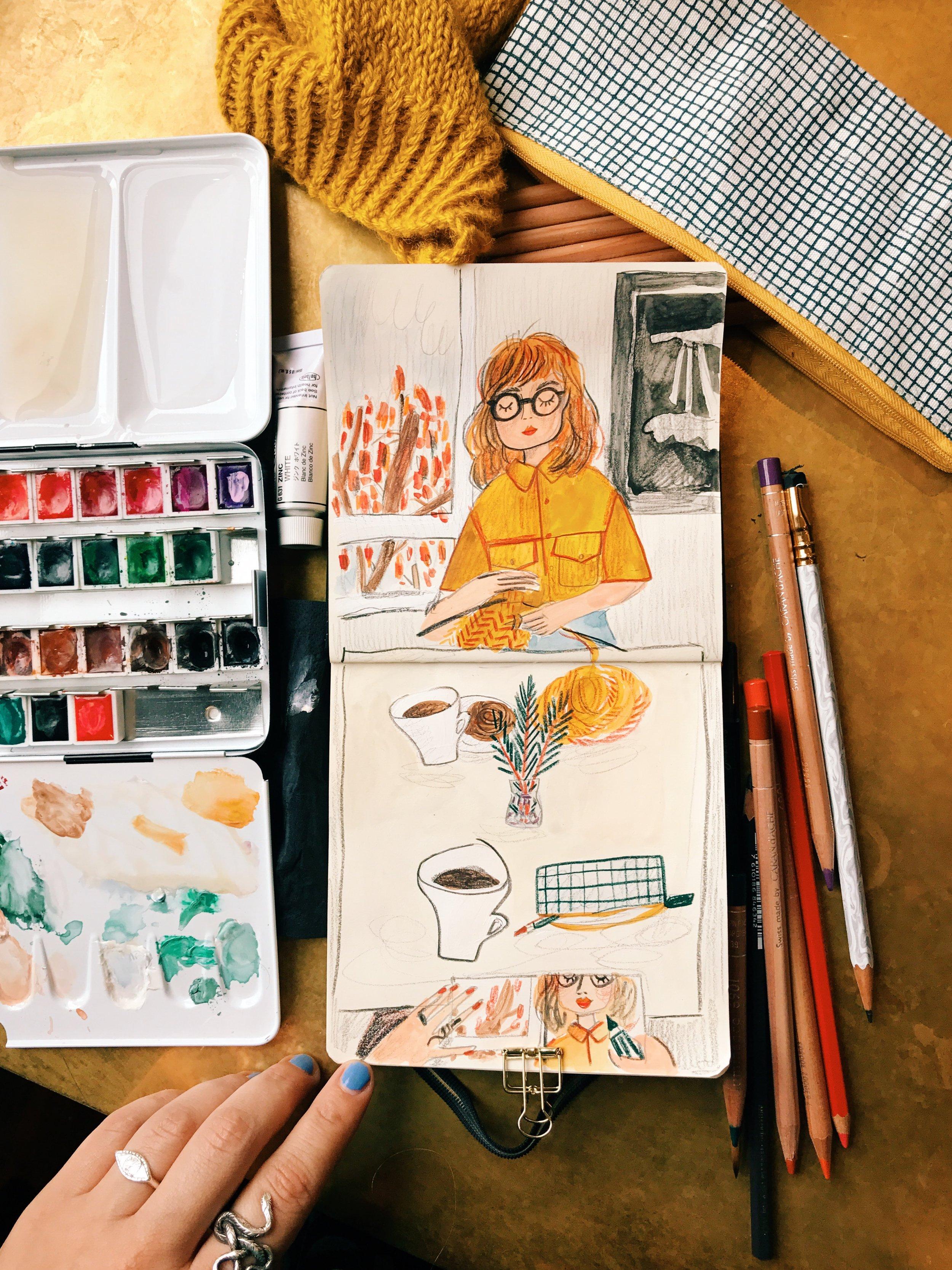My schmincke watercolour set &  caran d'ache pencils .