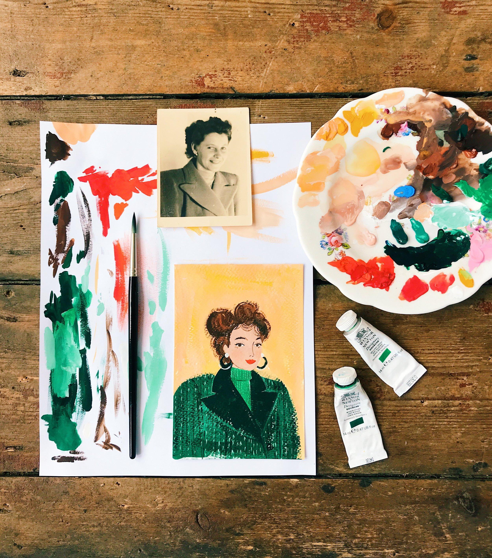 gouache portrait painting