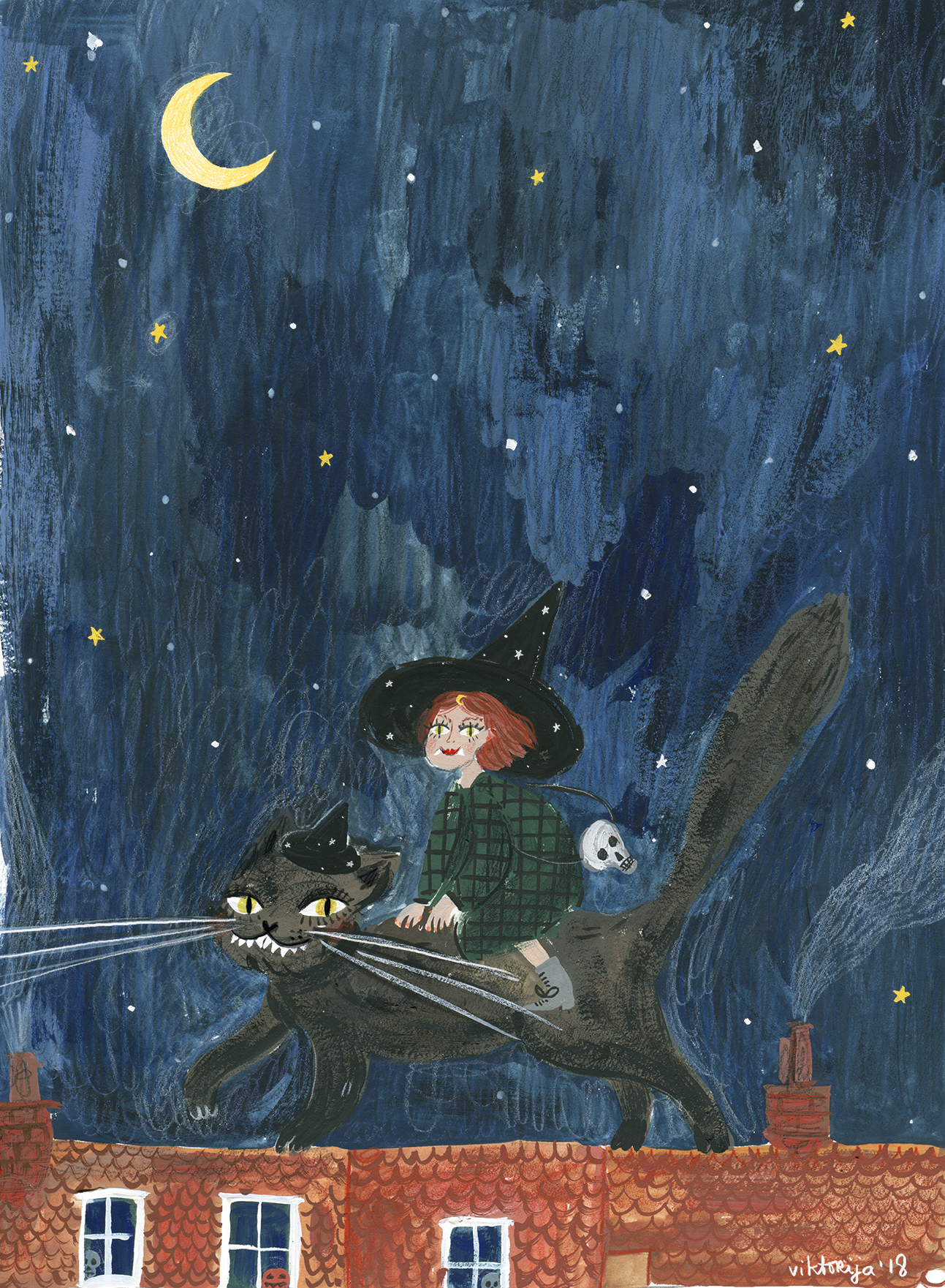 little witch and a cat halloween illustration by andsmile viktorrija semjonova