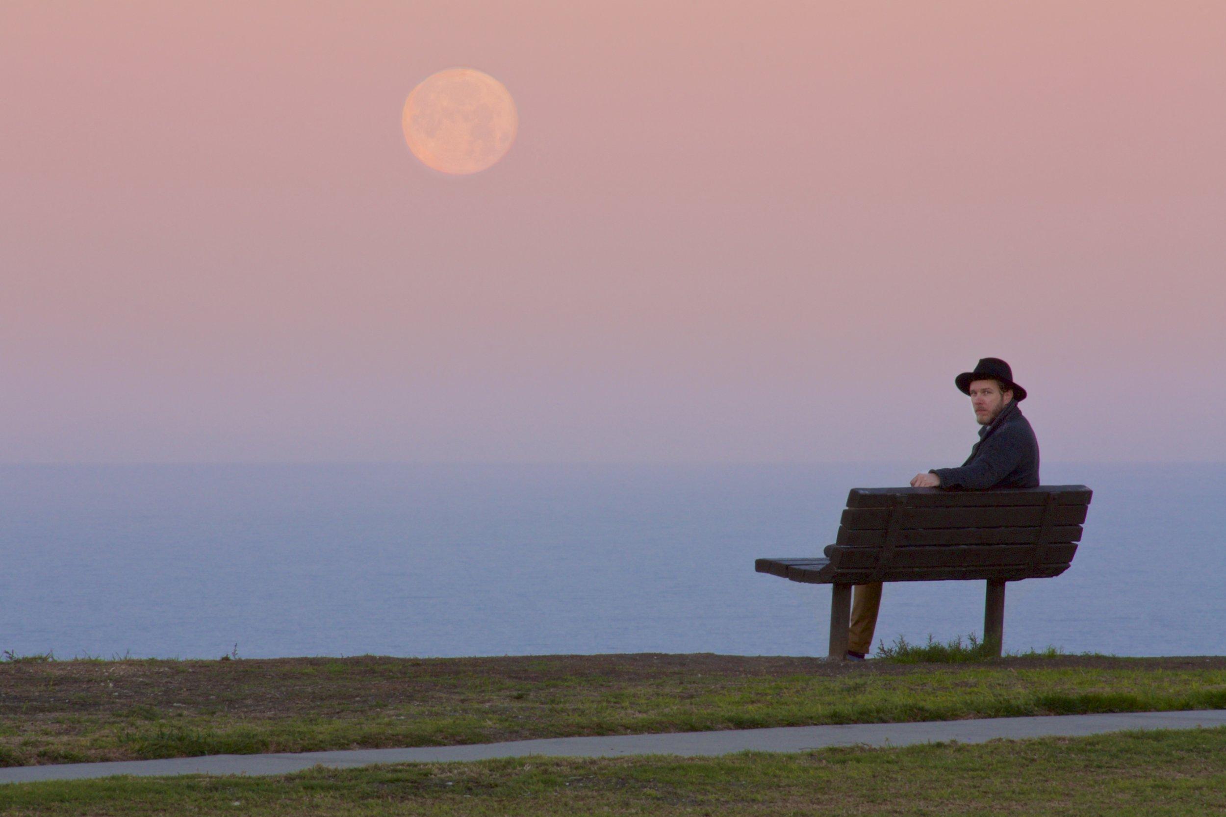 Hess Park full Moonset over the Pacific Ocean at Sunrise, 2016