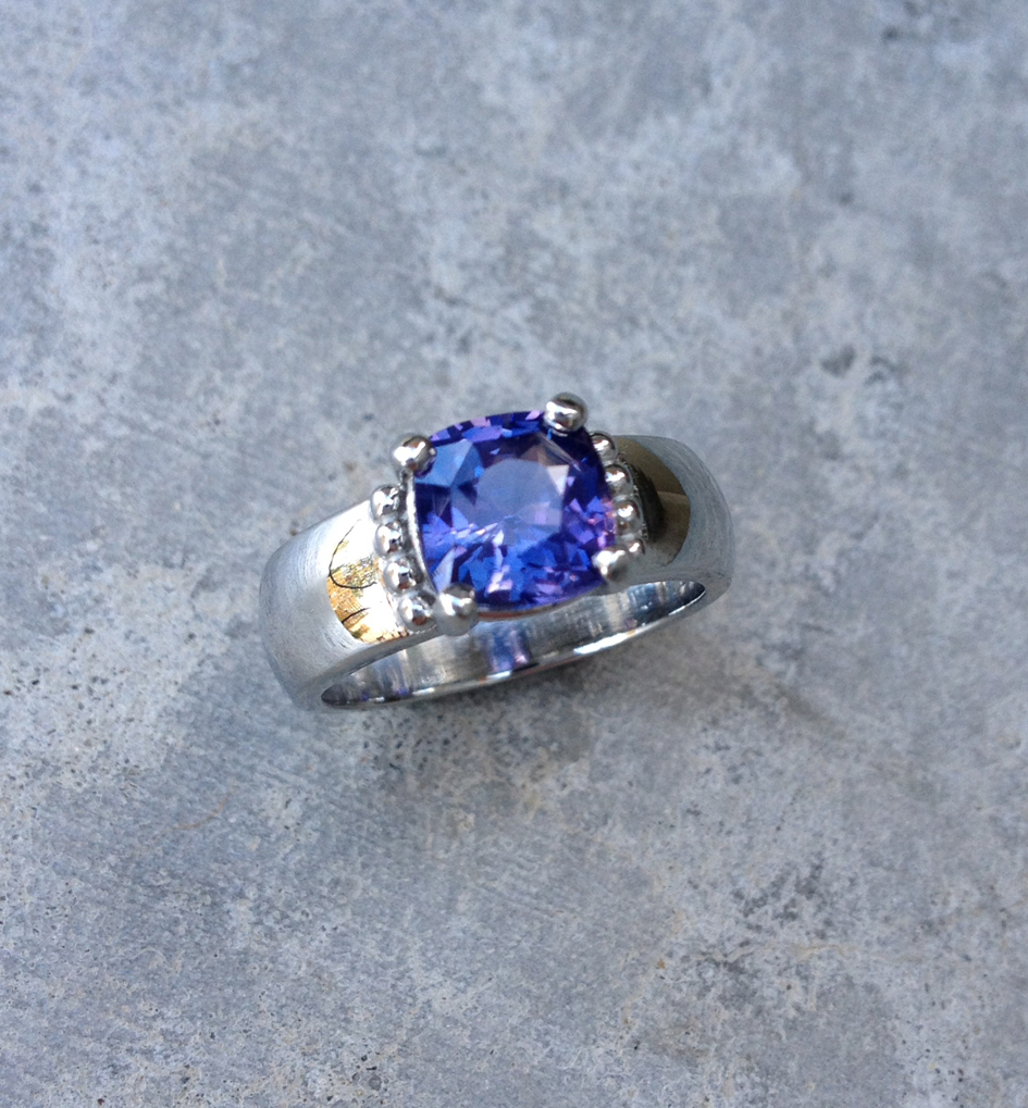 14k white gold and color change sapphire