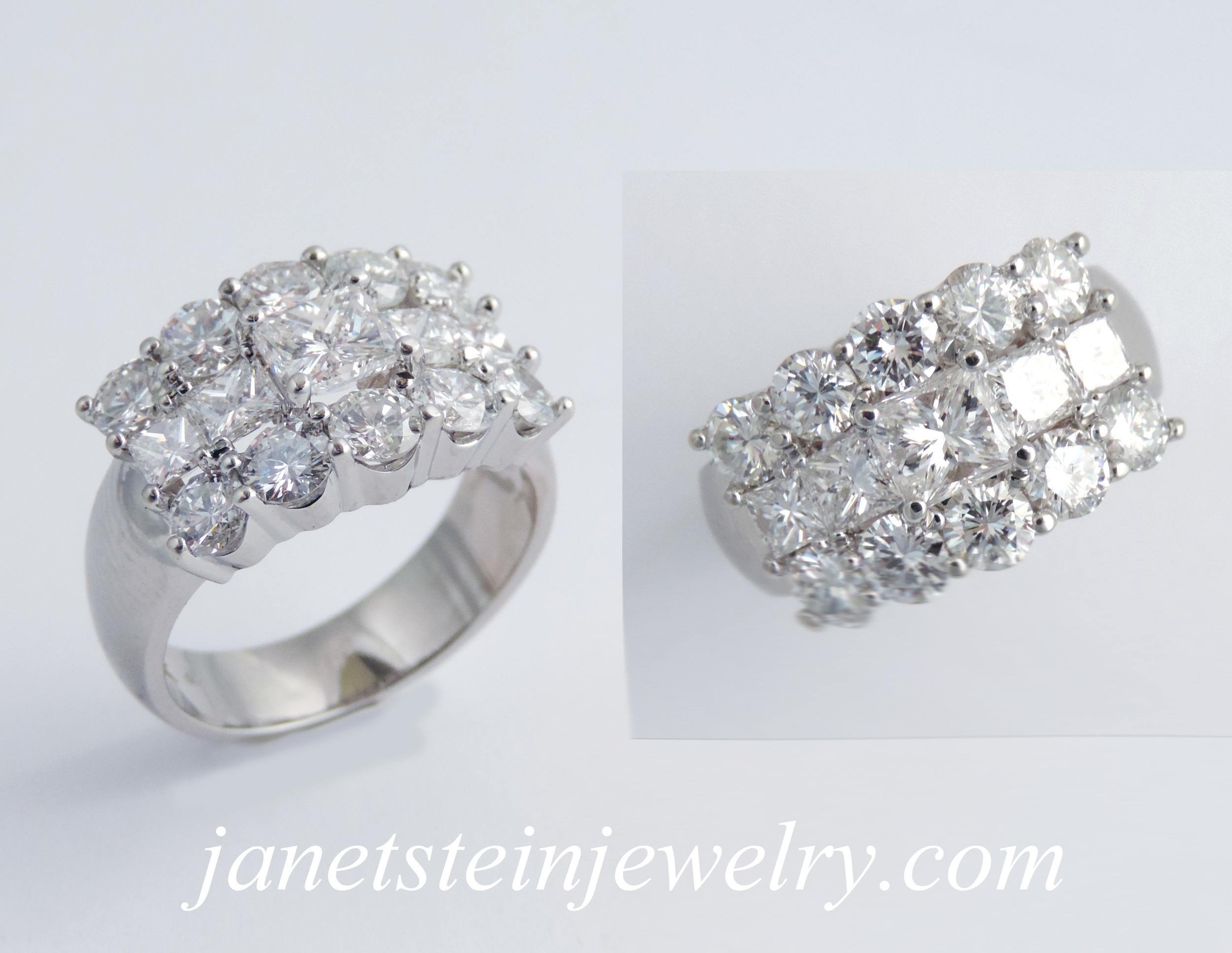 18k white gold and diamonds, approx 3 carat total weight