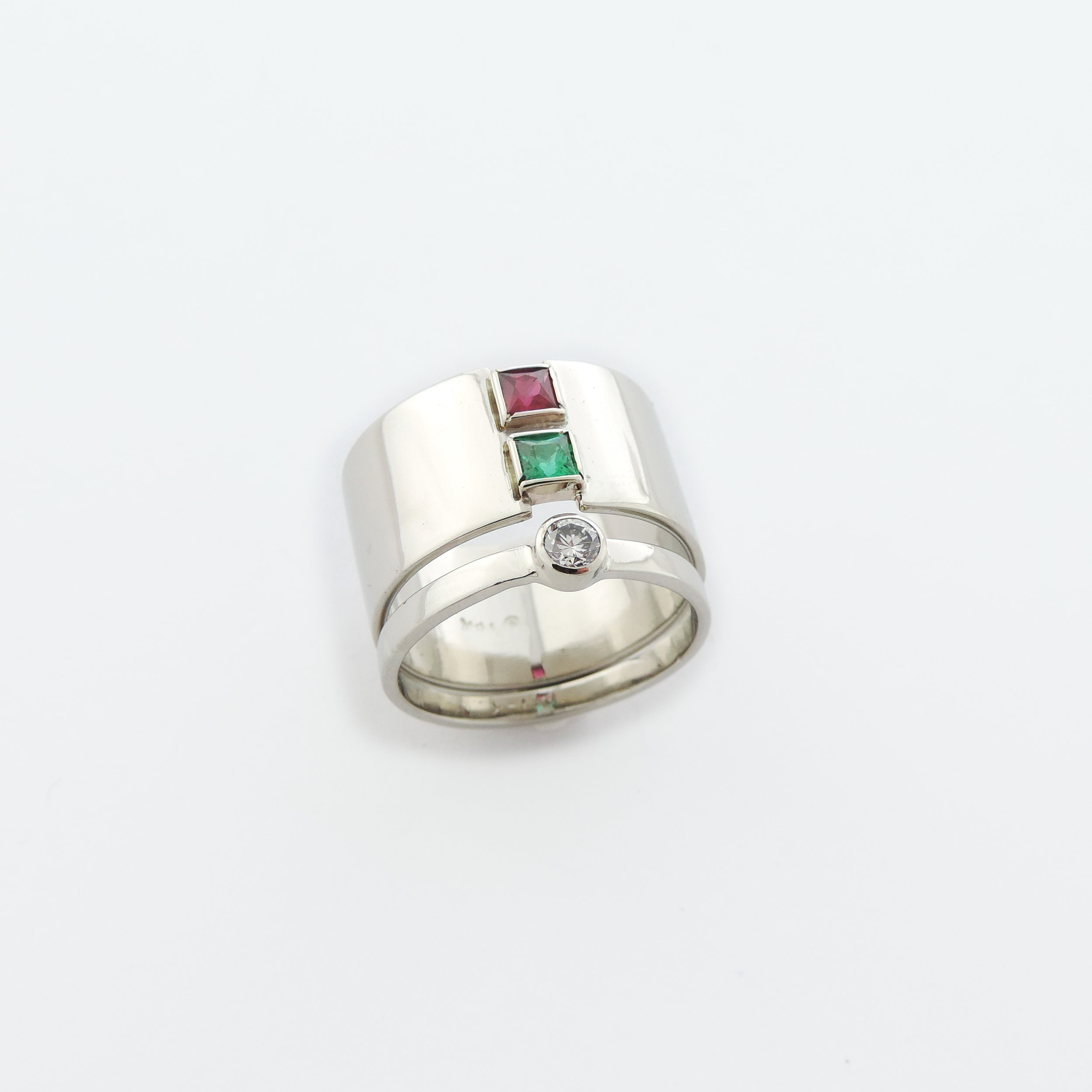 ruby emerald engagement ring