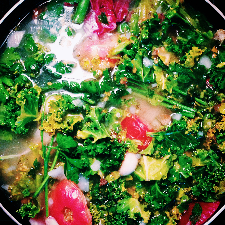 June 2014 Stock: Kale, tomatoes, onion, parsley, thyme, chicken bones.