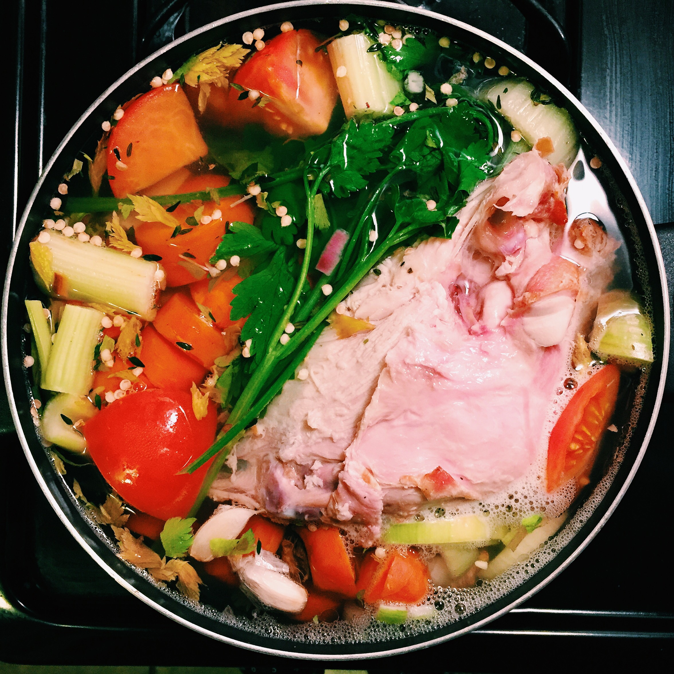 Thanksgiving 2014 Stock: turkey breast bones, garlic, onions, celery, carrots, parsley, scallions, thyme, green pepper