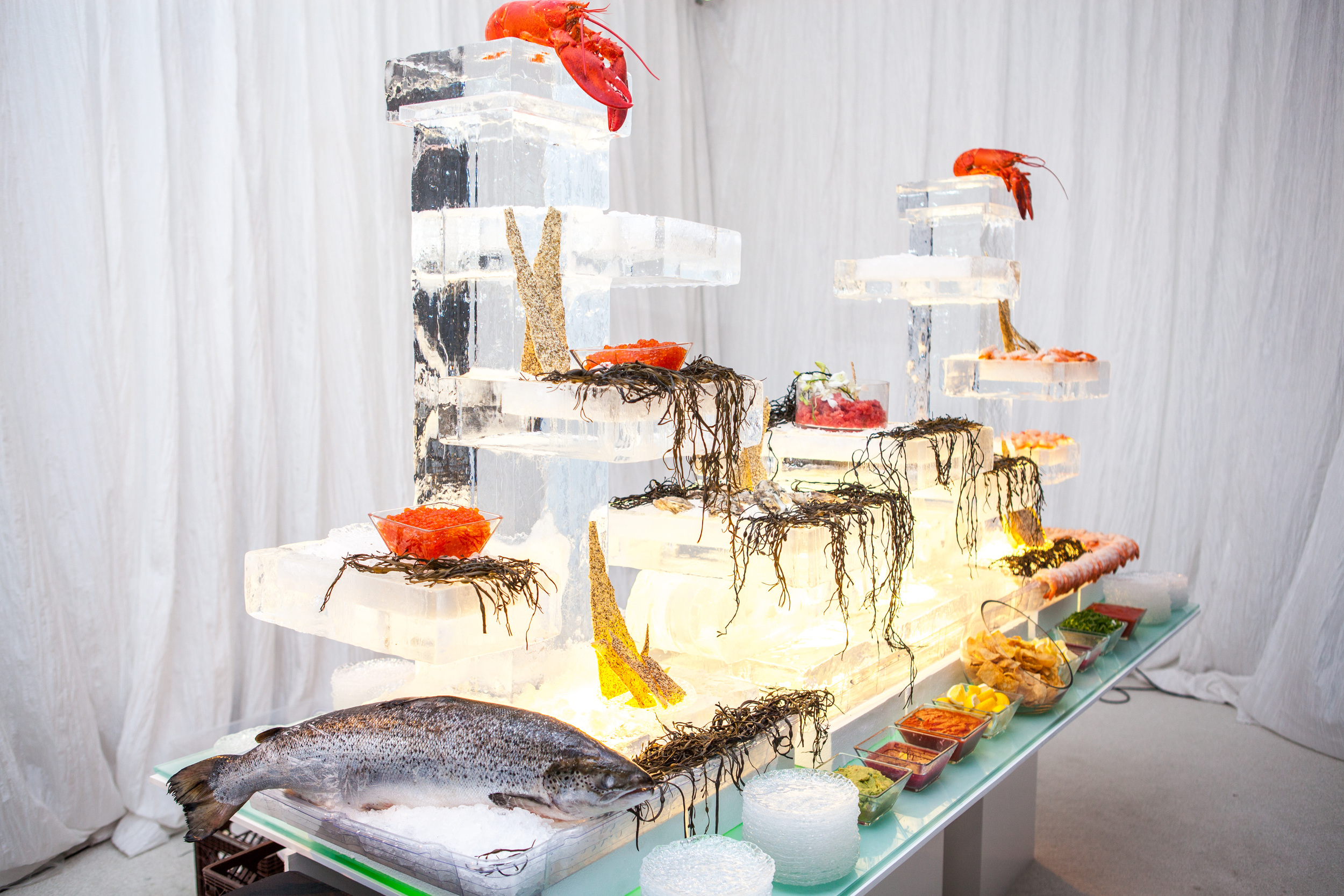 Seafood Station with Ice Sculpture