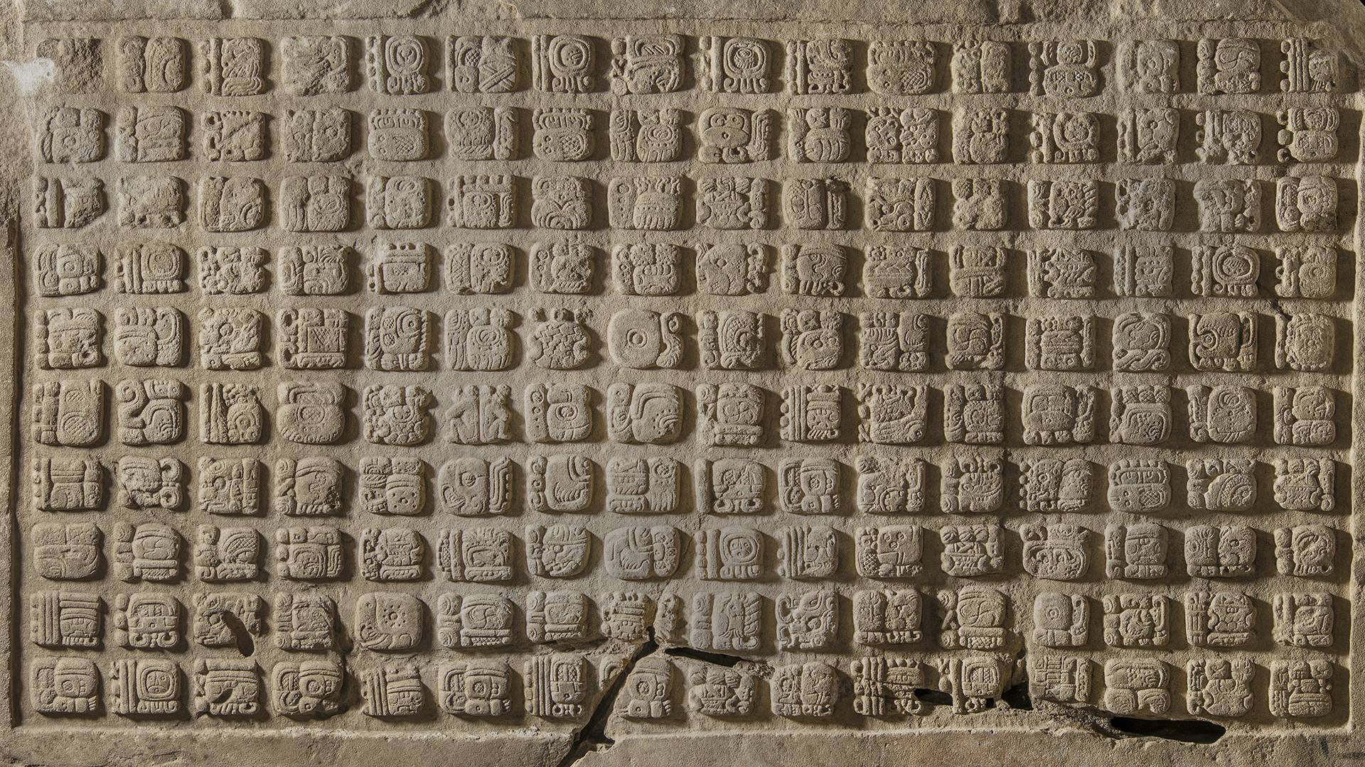 Maya glyphs in stucco at the Museo de Sitio in Palenque.