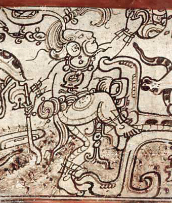 Chahk detail from a Codex style vessel in the Metropolitan Museum of Art. This particular variant is known as    Chak Xib Chahk