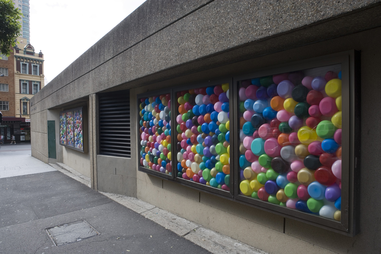 Around Around 2006  McK17 Public Art Project, McKell Building, Government Architects Office, Sydney Balloons and existing vitrines
