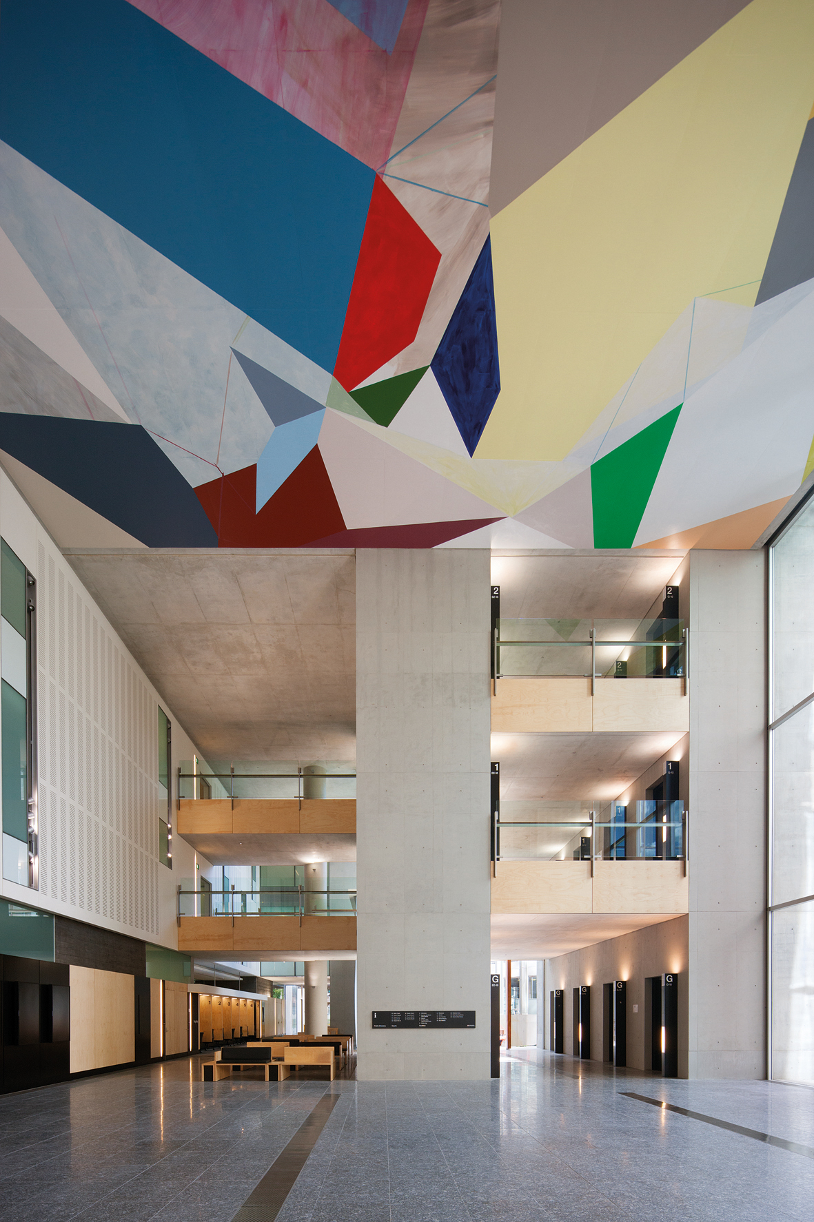 Collision and Improvisation (ceiling)   2012    Queen Elizabeth II Courts of Law, Brisbane  Acrylic on concrete   16 x 16m