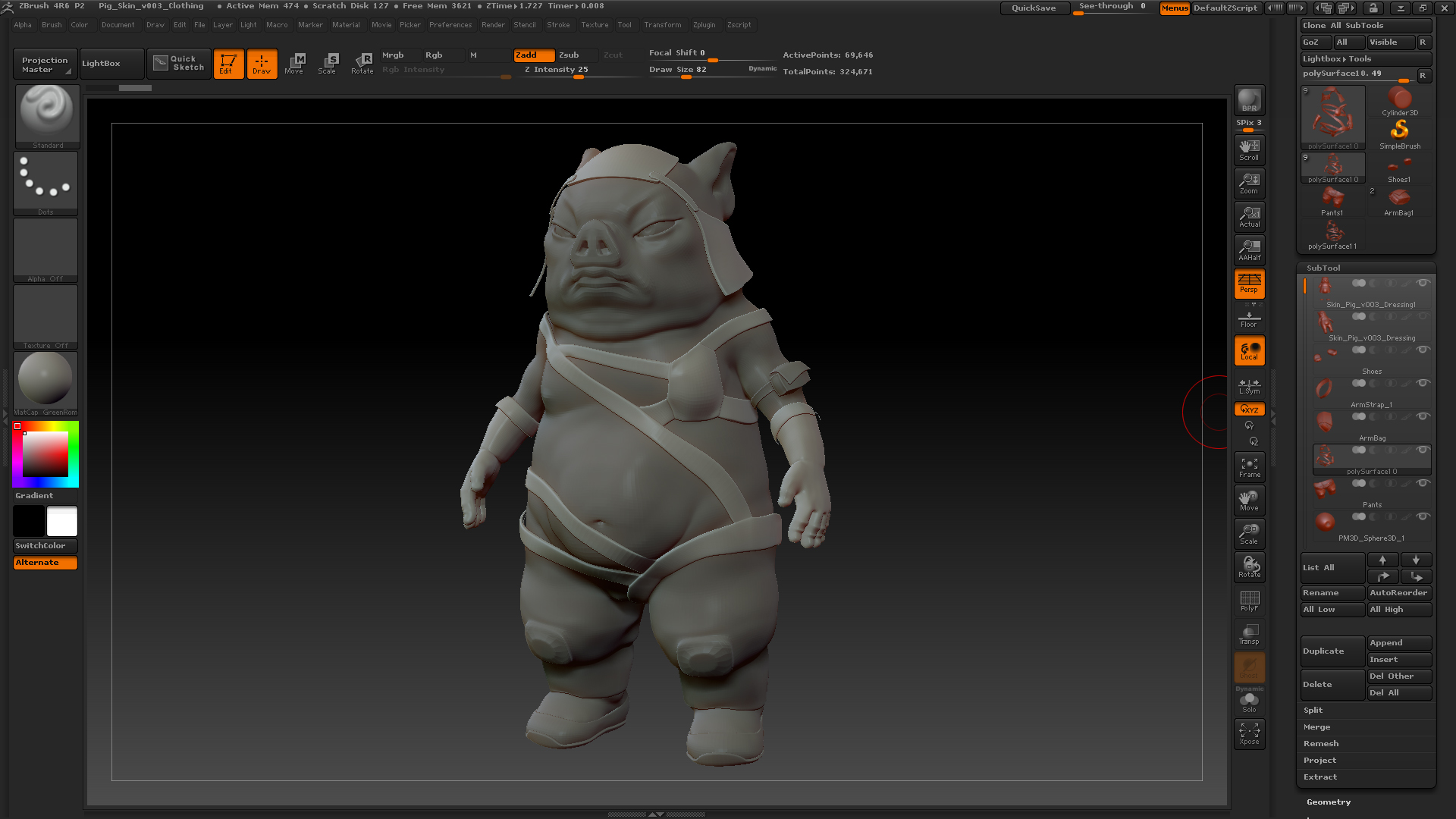 Base clothing imported into ZBrush, ready to sculpt
