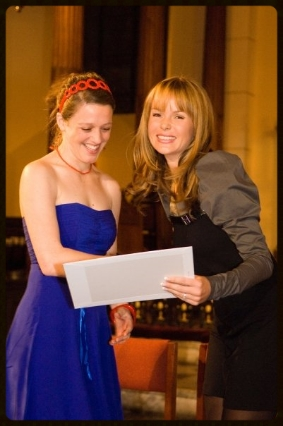 Andi receiving her Masters degree from fellow Mountview alumnus, Amanda Holden.