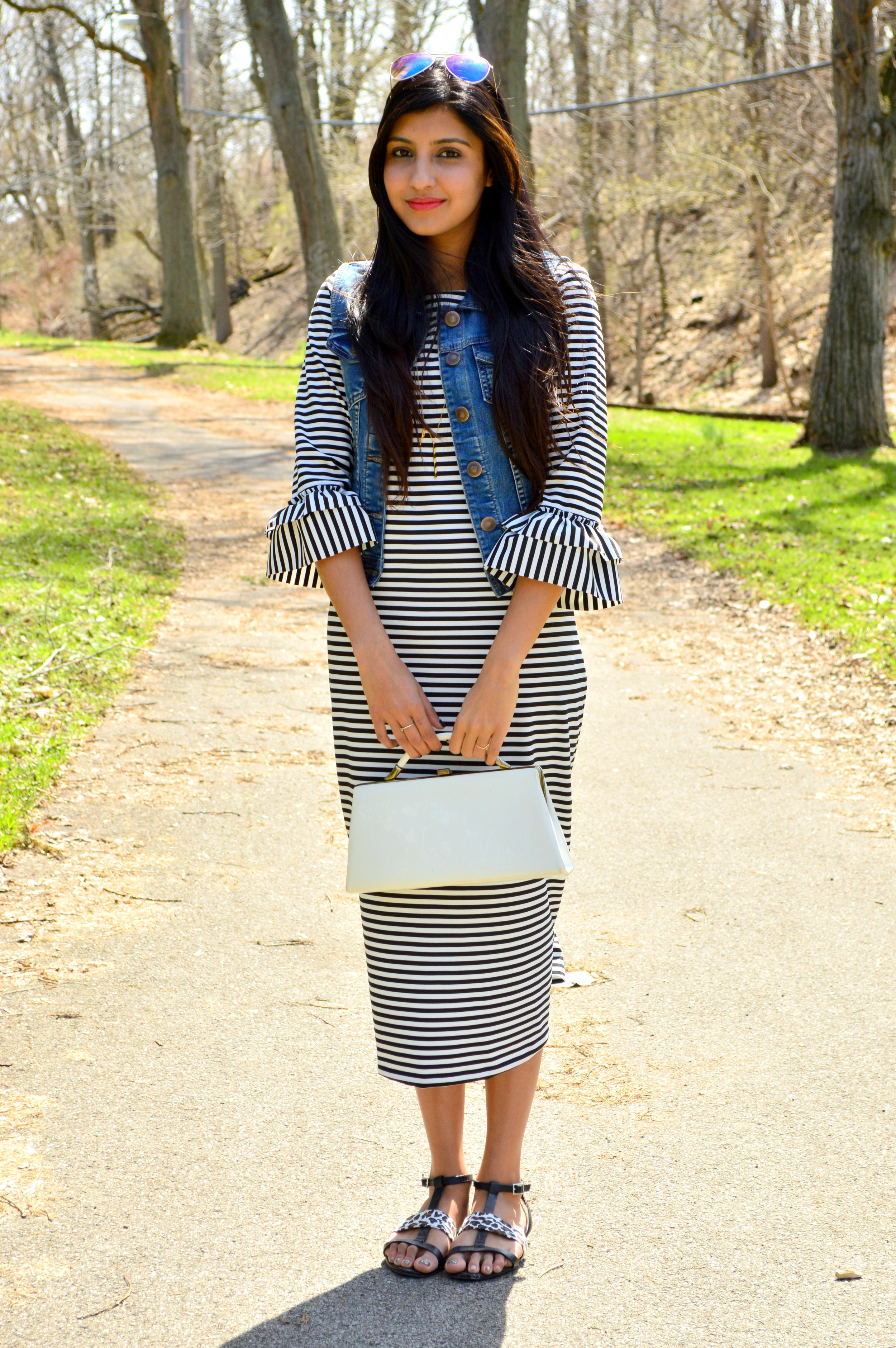 Striped Midi Dress 5
