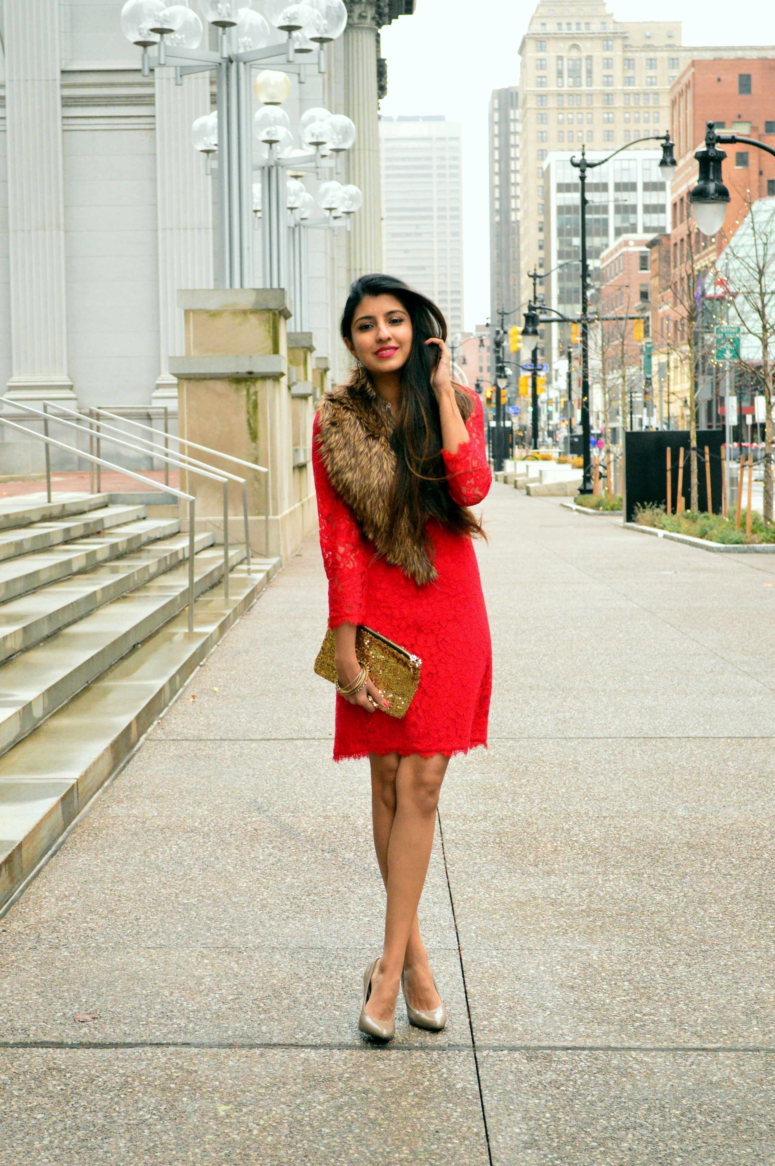 Red lace faux fur christmas 3