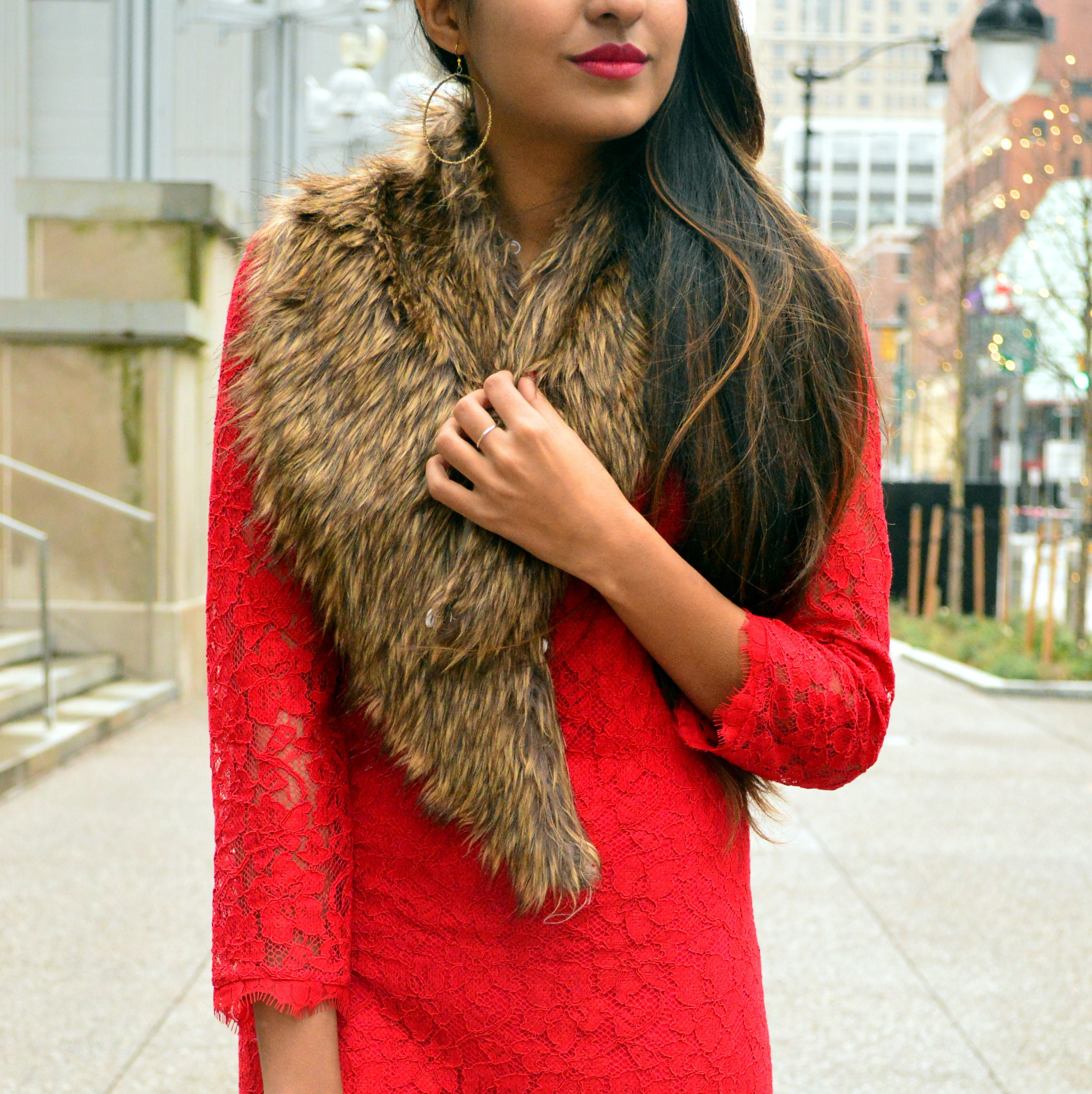 Red lace faux fur christmas outfit 4