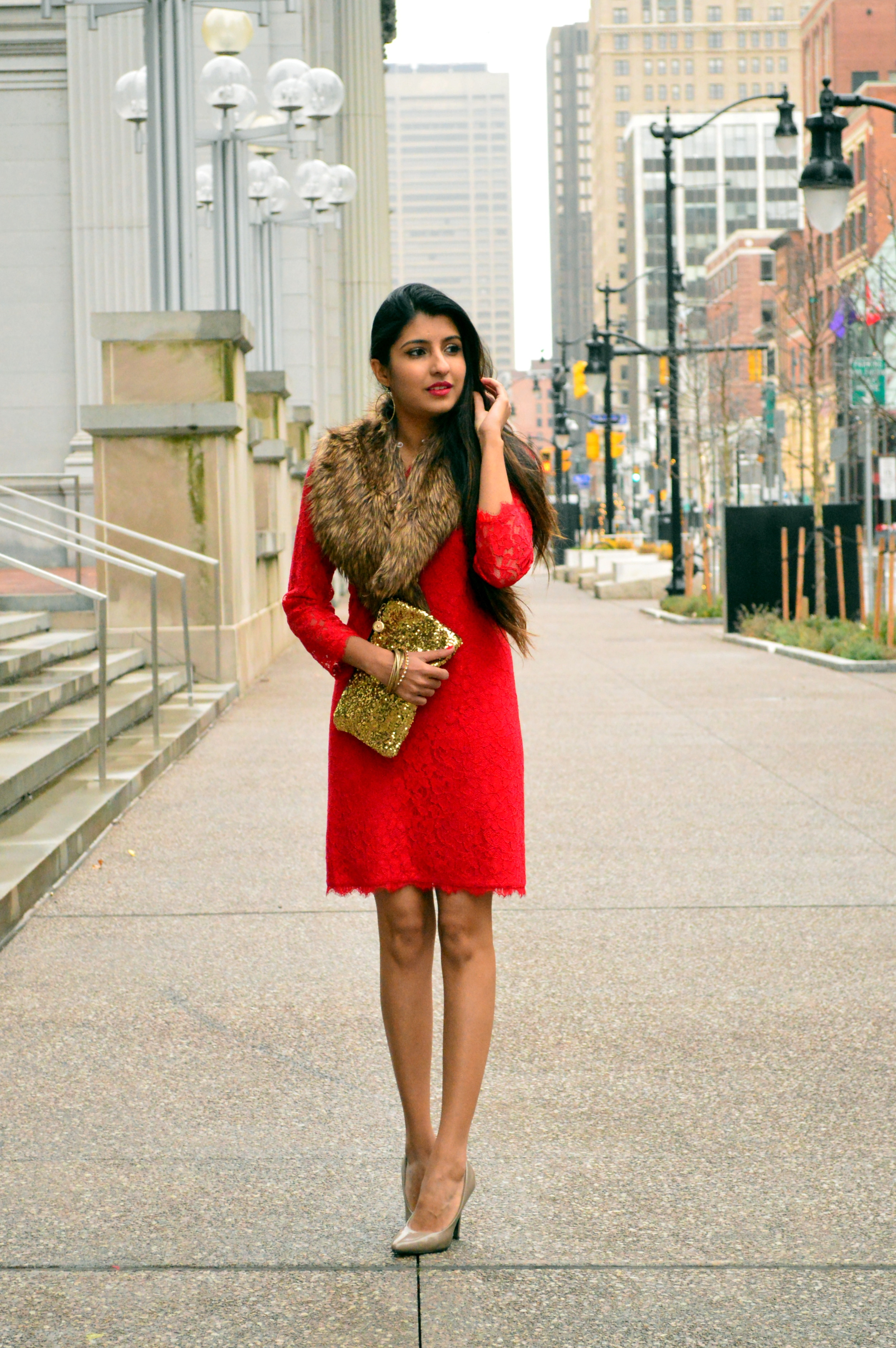 Red lace faux fur christmas outfit 5