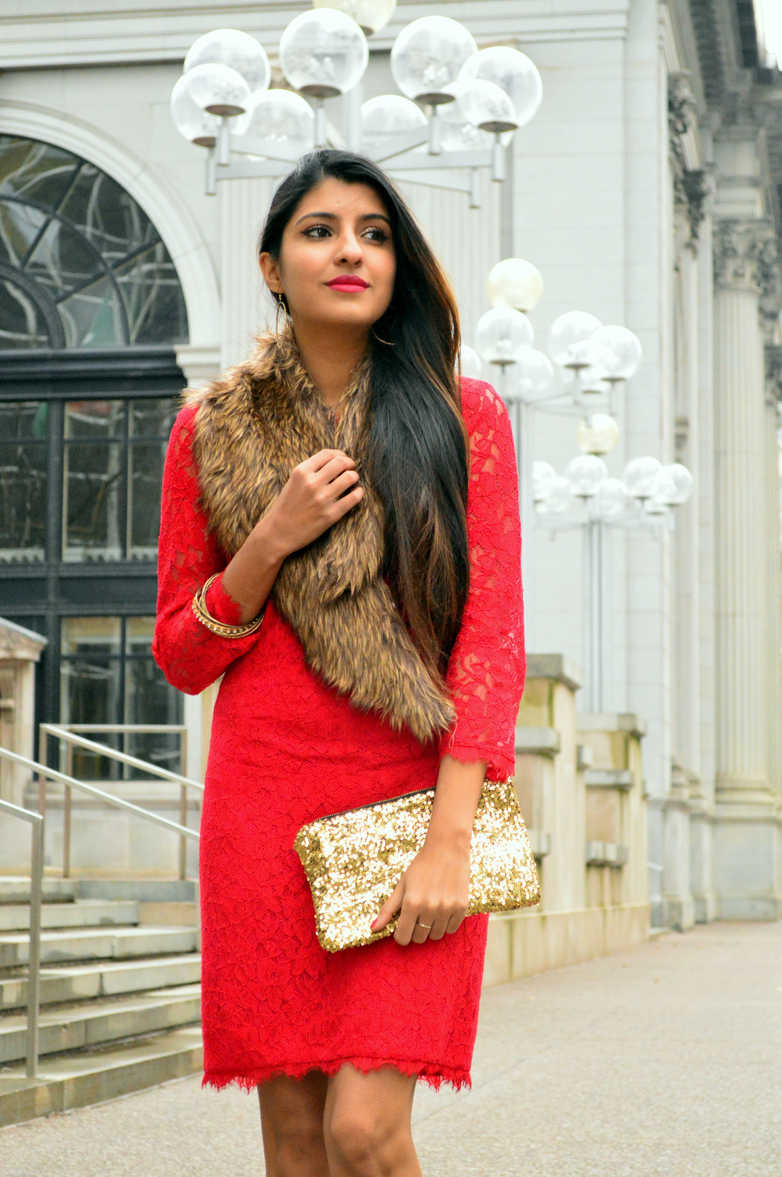 Red lace faux fur christmas outfit 6
