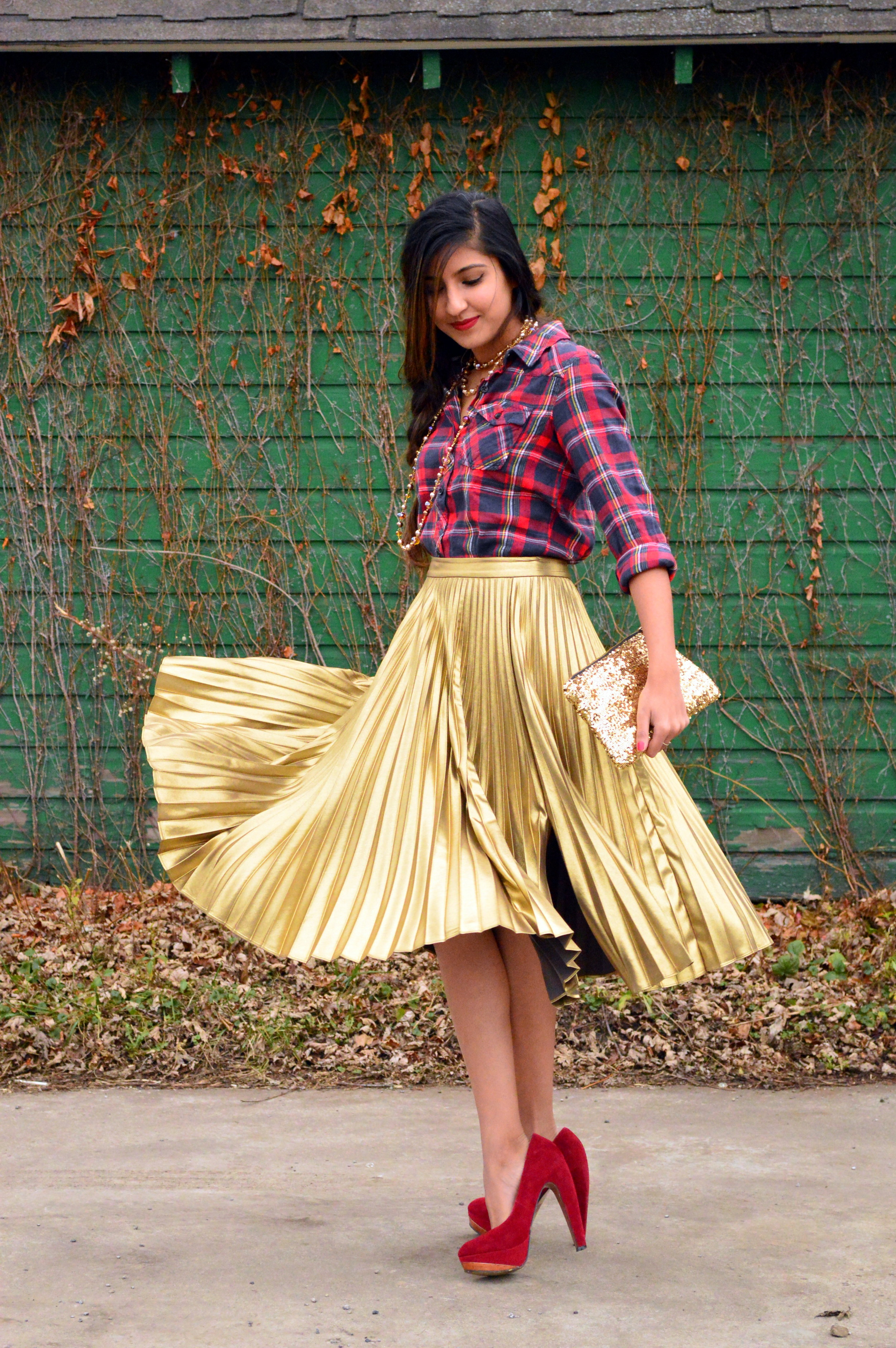 festive flannel and gold pleats 1