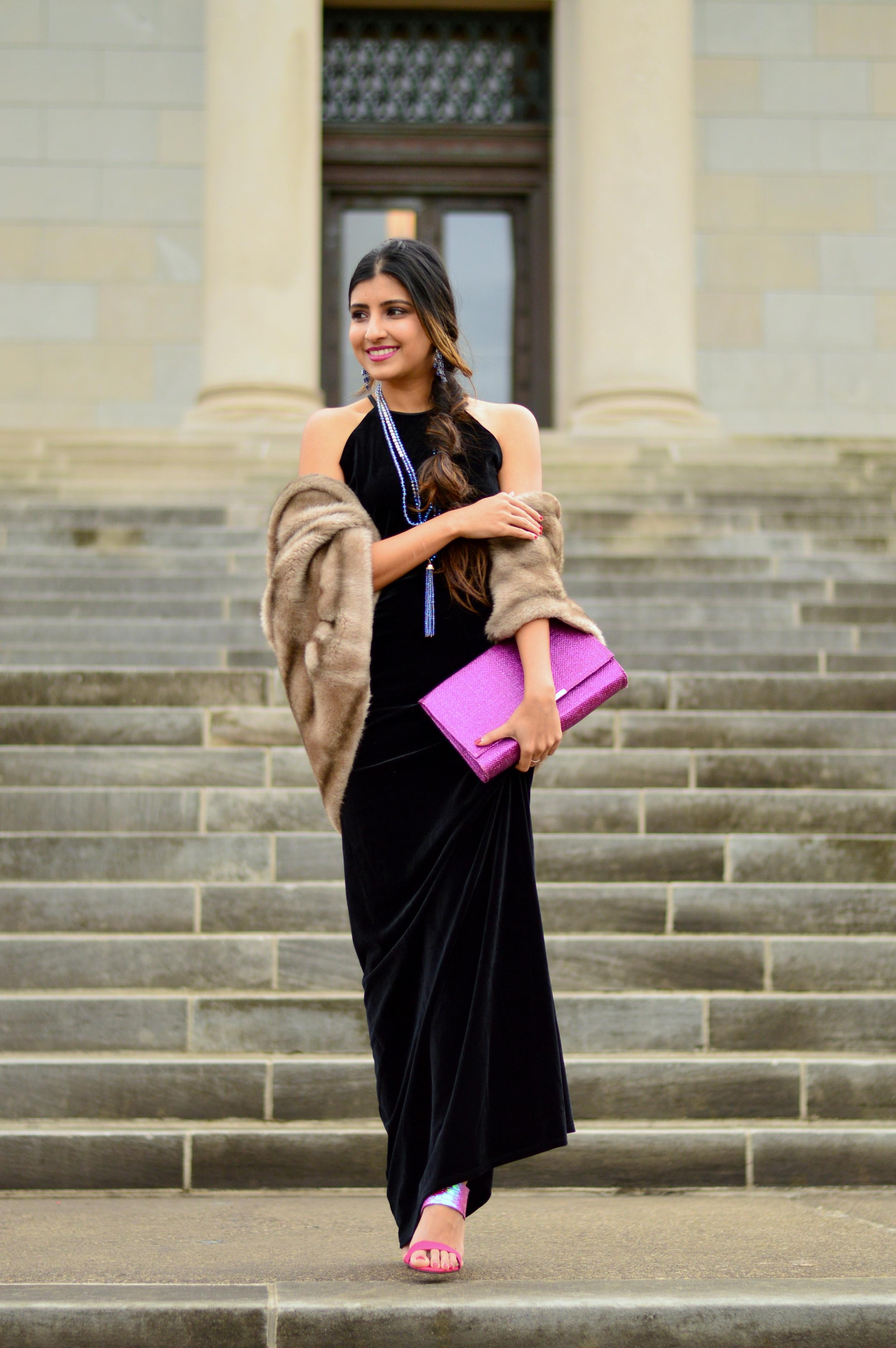 Black velvet maxi dress-NYE outfit 1