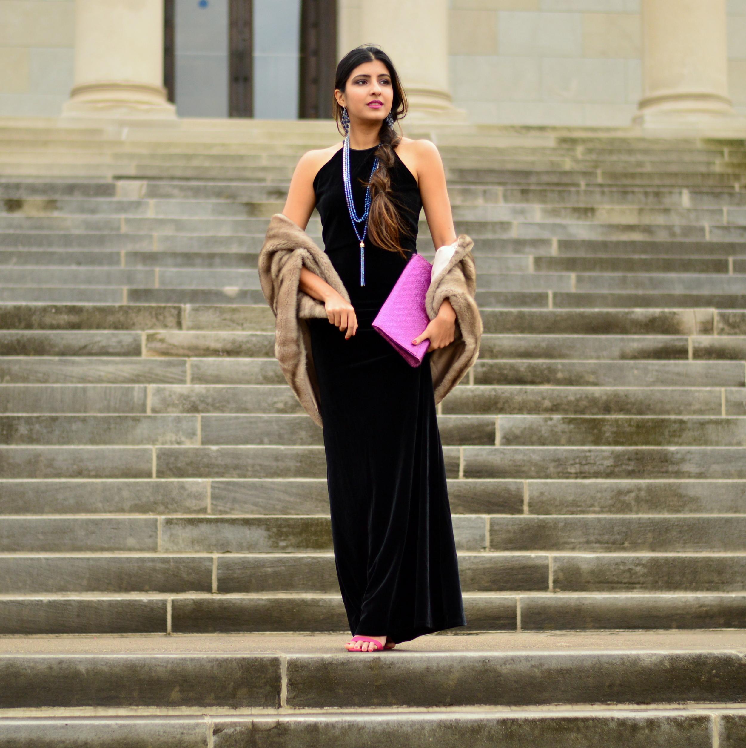 Black velvet maxi dress-NYE outfit 4