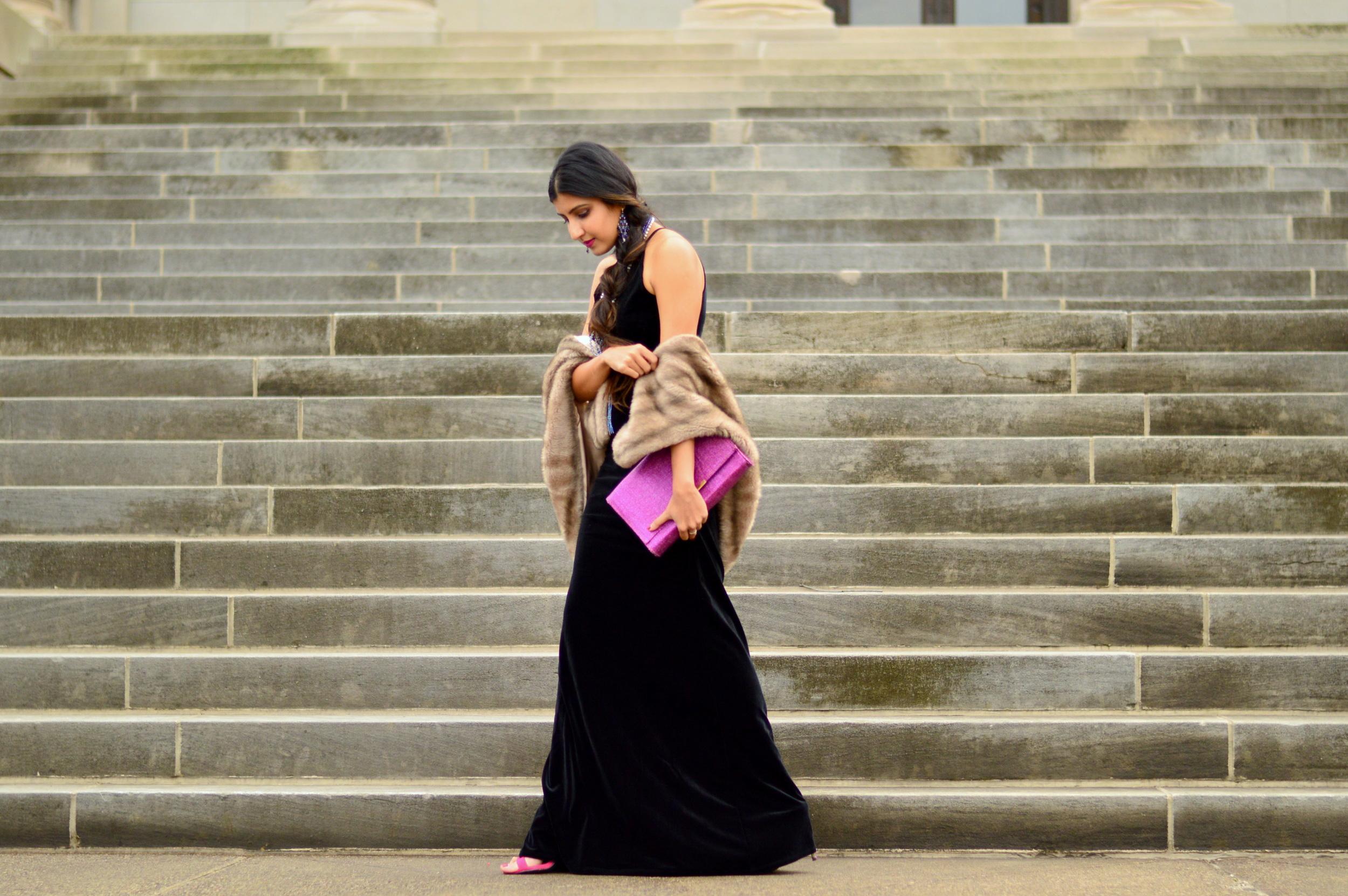 Black velvet maxi dress-NYE outfit 5