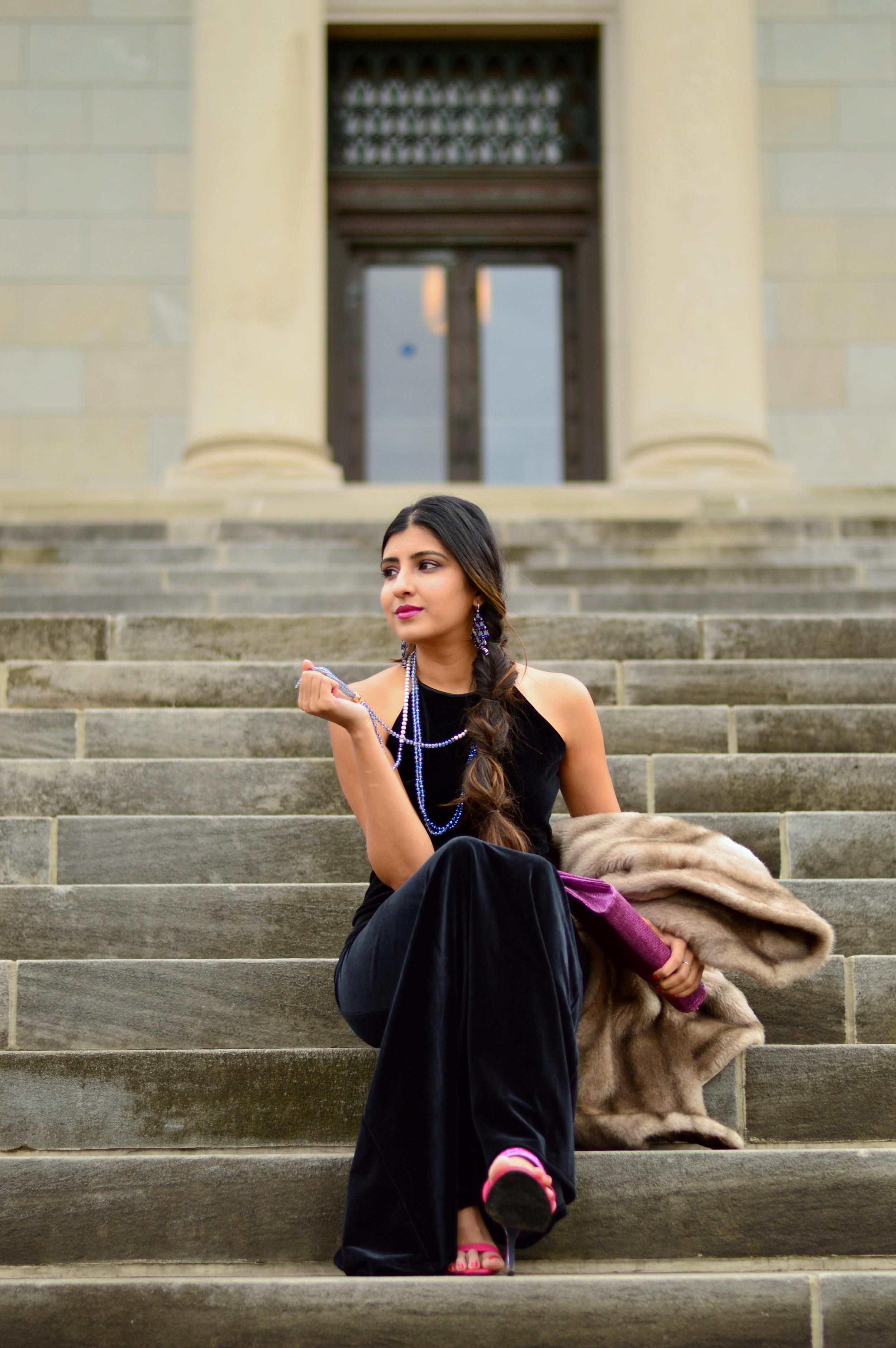Black velvet maxi dress-NYE outfit 6