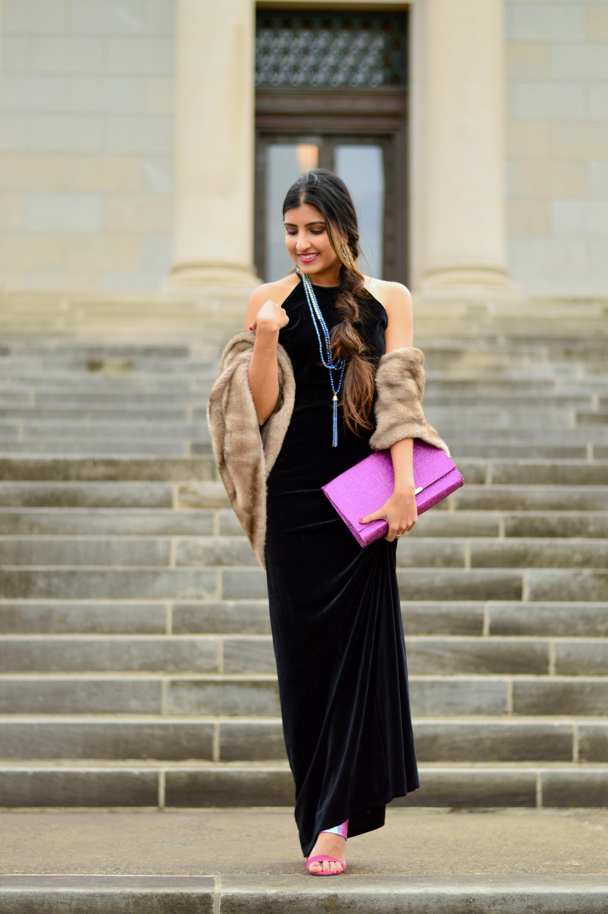 Black velvet maxi dress-NYE outfit 8