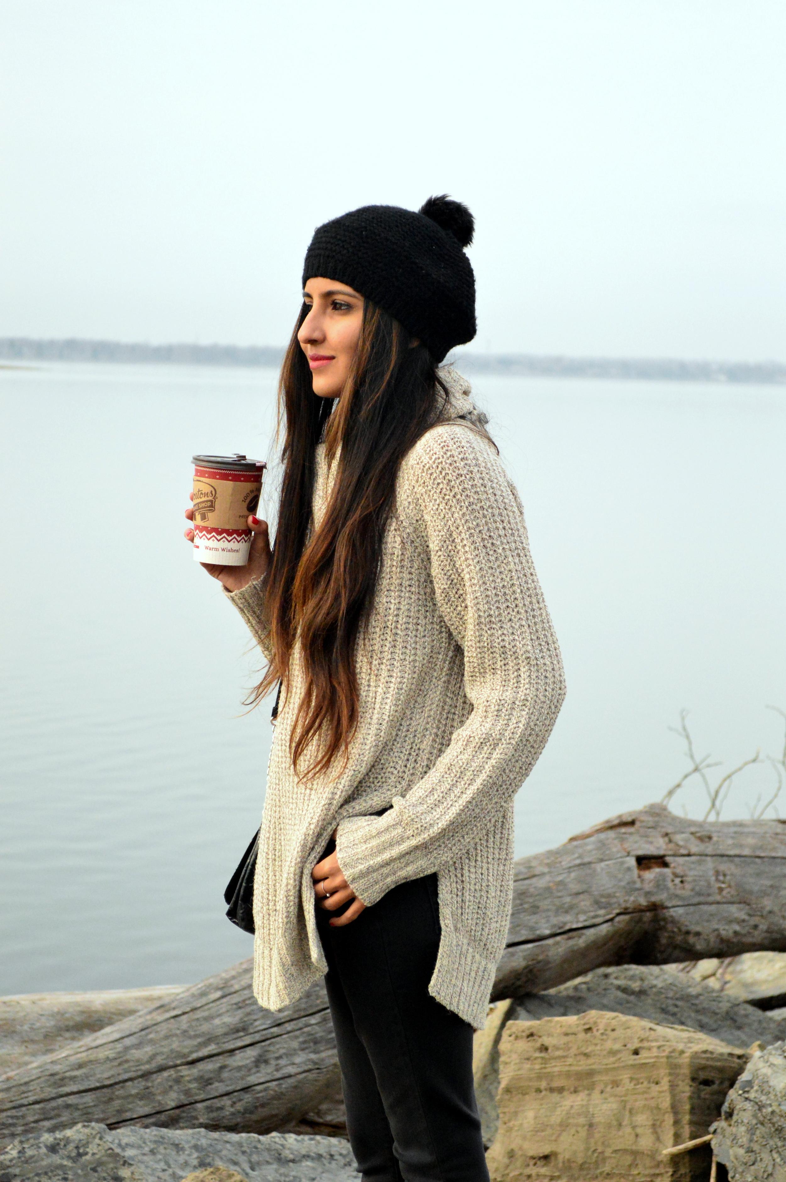 turtleneck sweater-casual weekend style-pom beanie 5