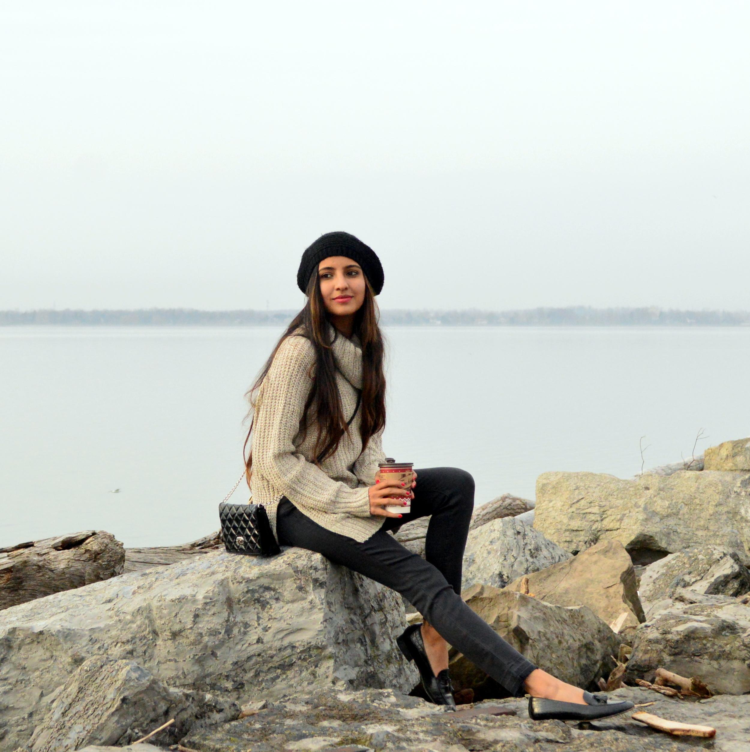 turtleneck sweater-casual weekend style-pom beanie 6
