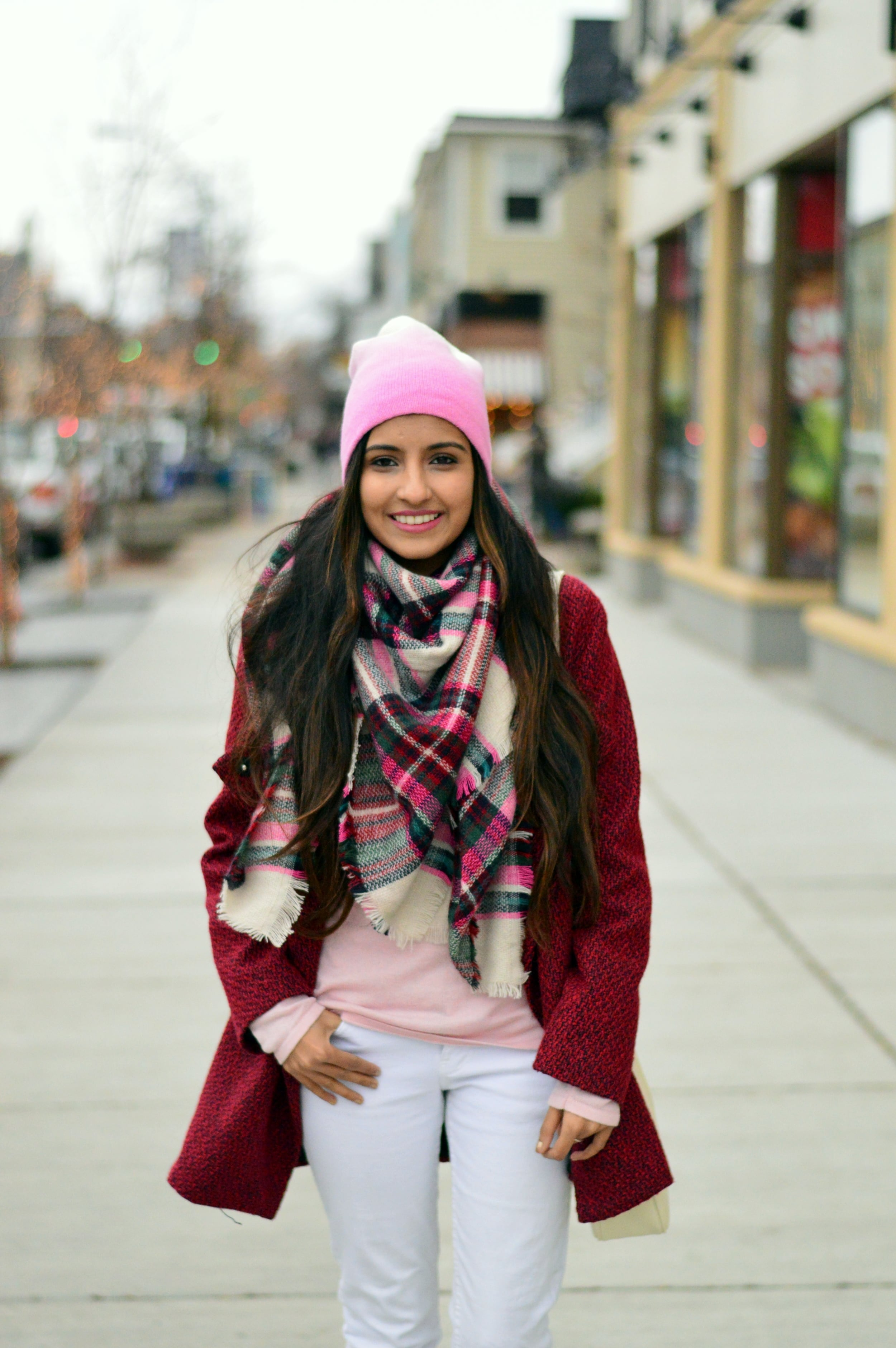 Plaid blanket scarf-pink and red-layers 2