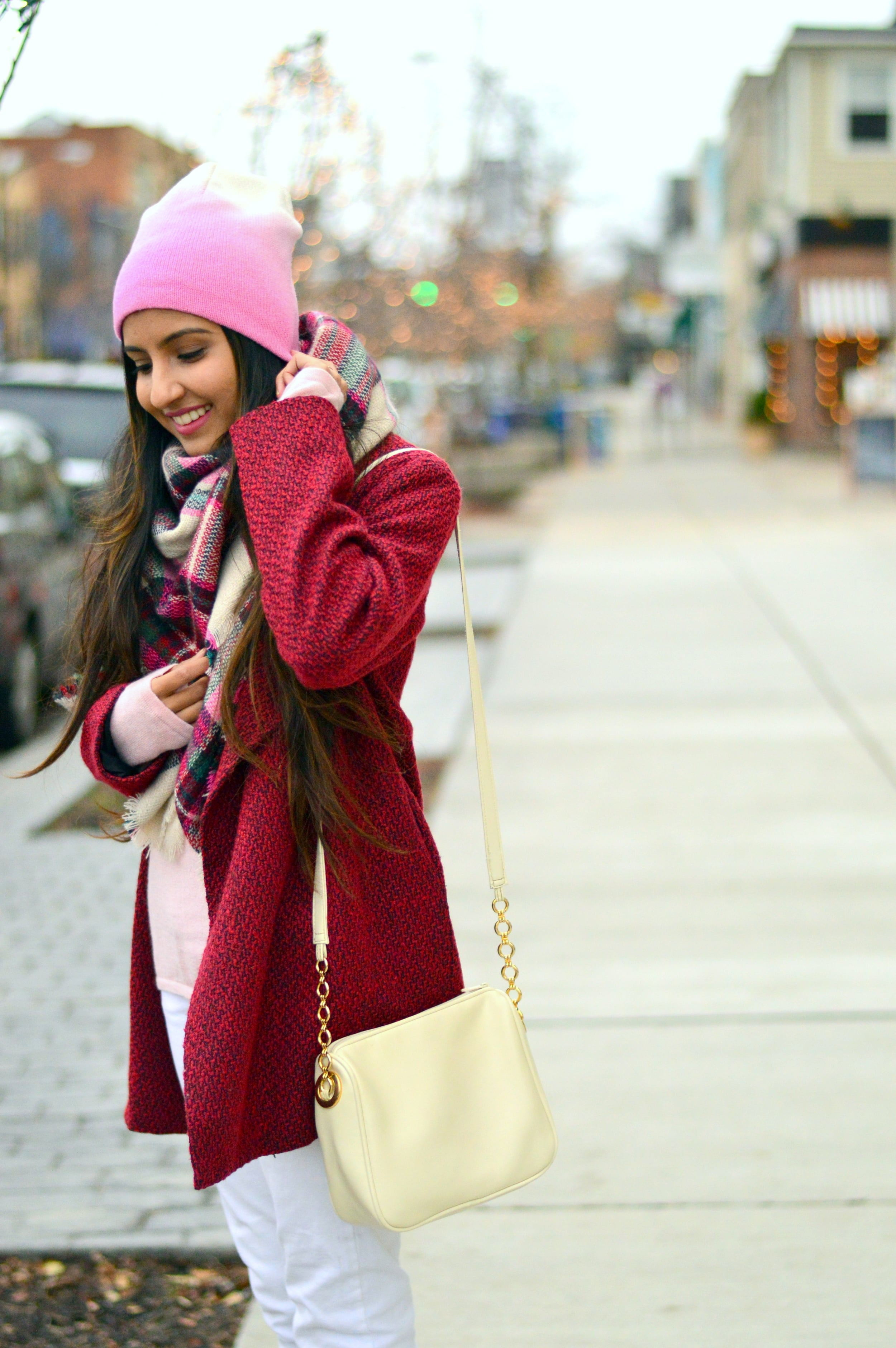 Plaid blanket scarf-pink and red-layers 4