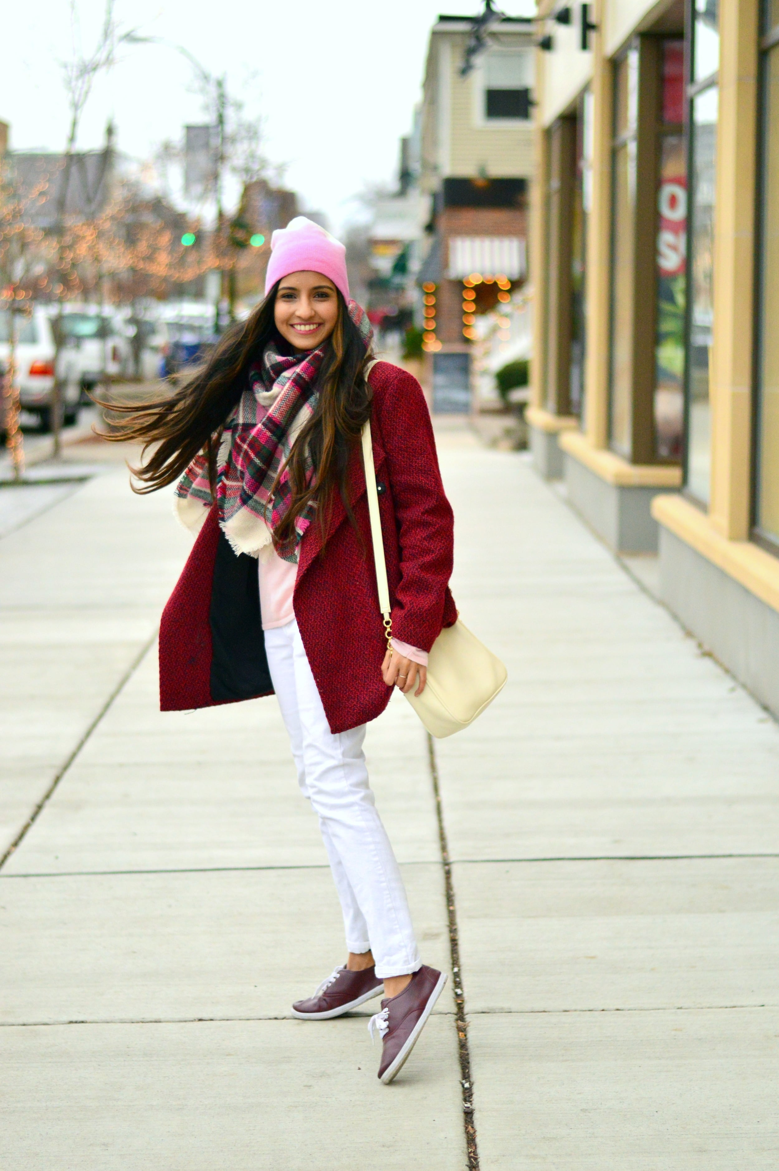 Plaid blanket scarf-pink and red-layers 7