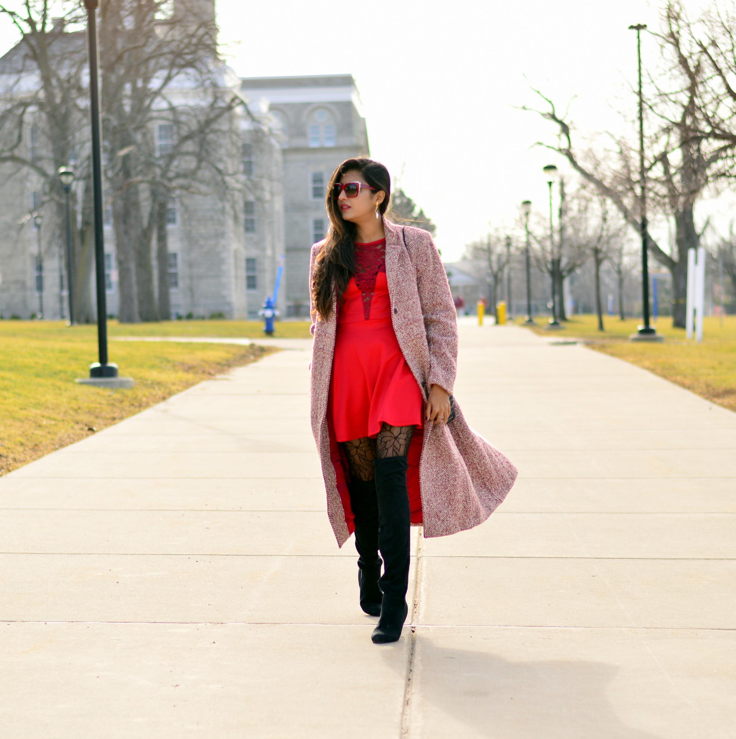 Little red dress-Valentine Day look 1