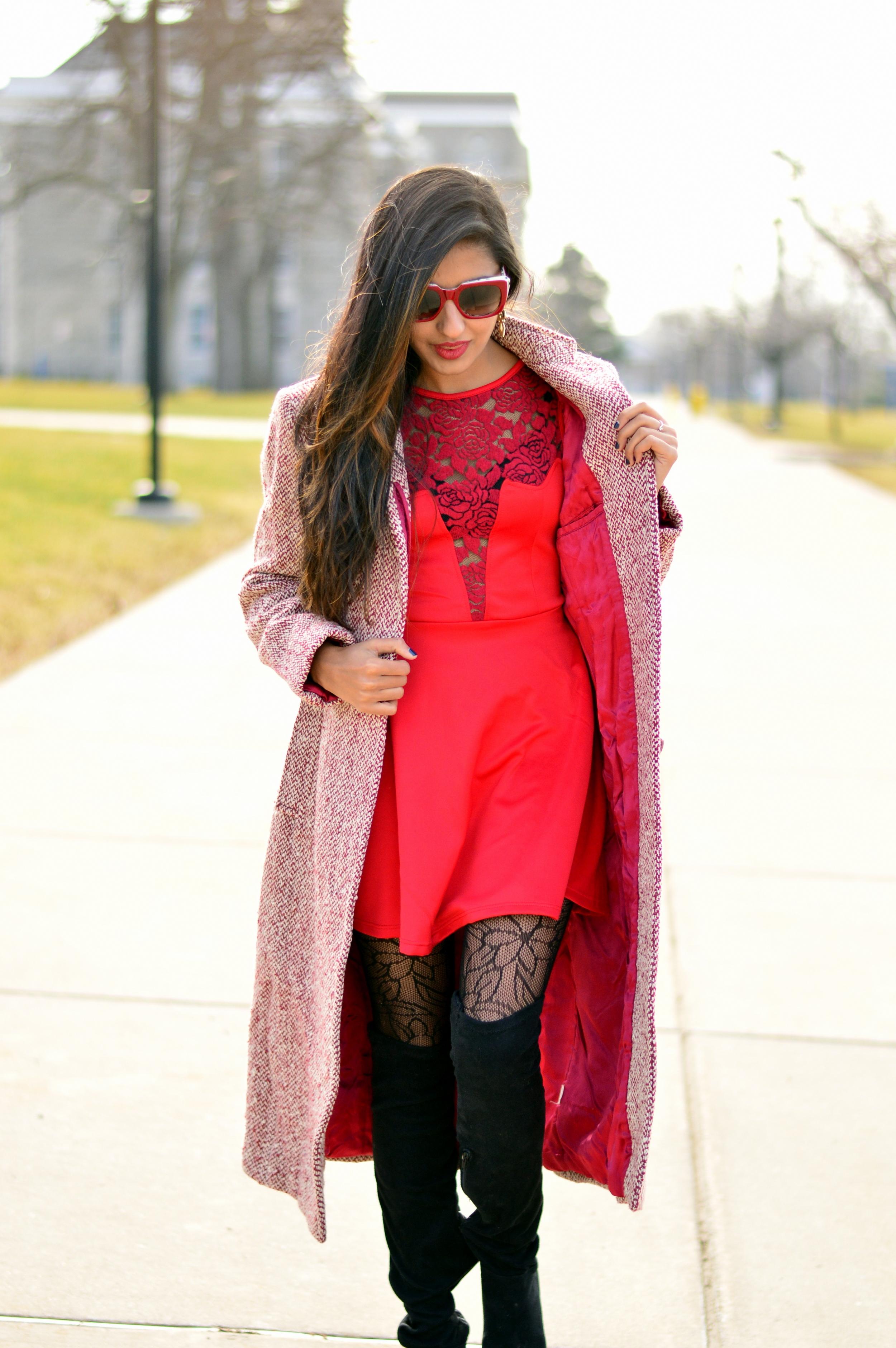 Little red dress-Valentine Day look 2