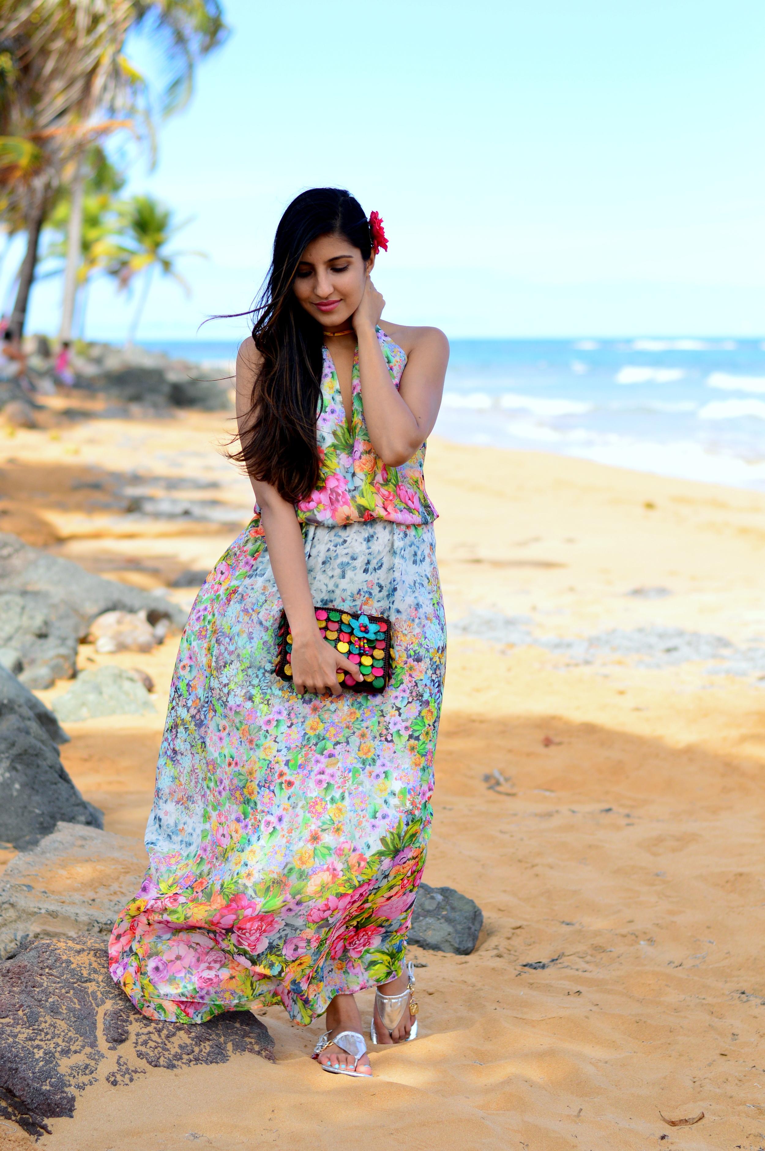 floral-maxi-dress-luquillo-beach-puerto-rico