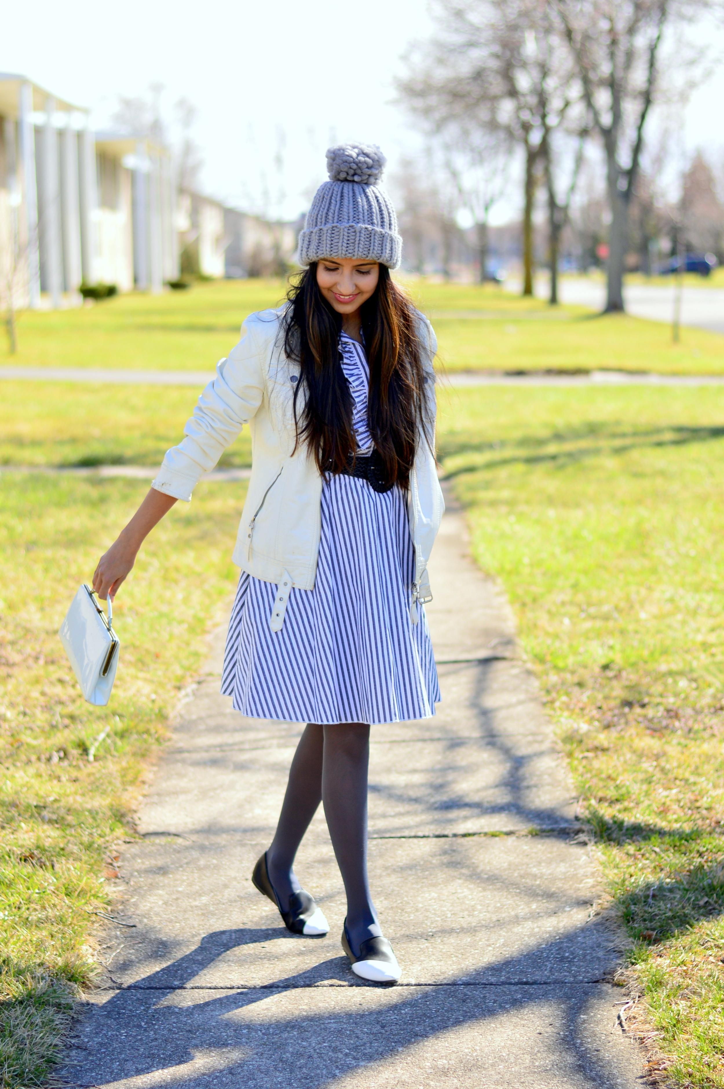 striped-shirtdress-pom-beanie-spring-style 3