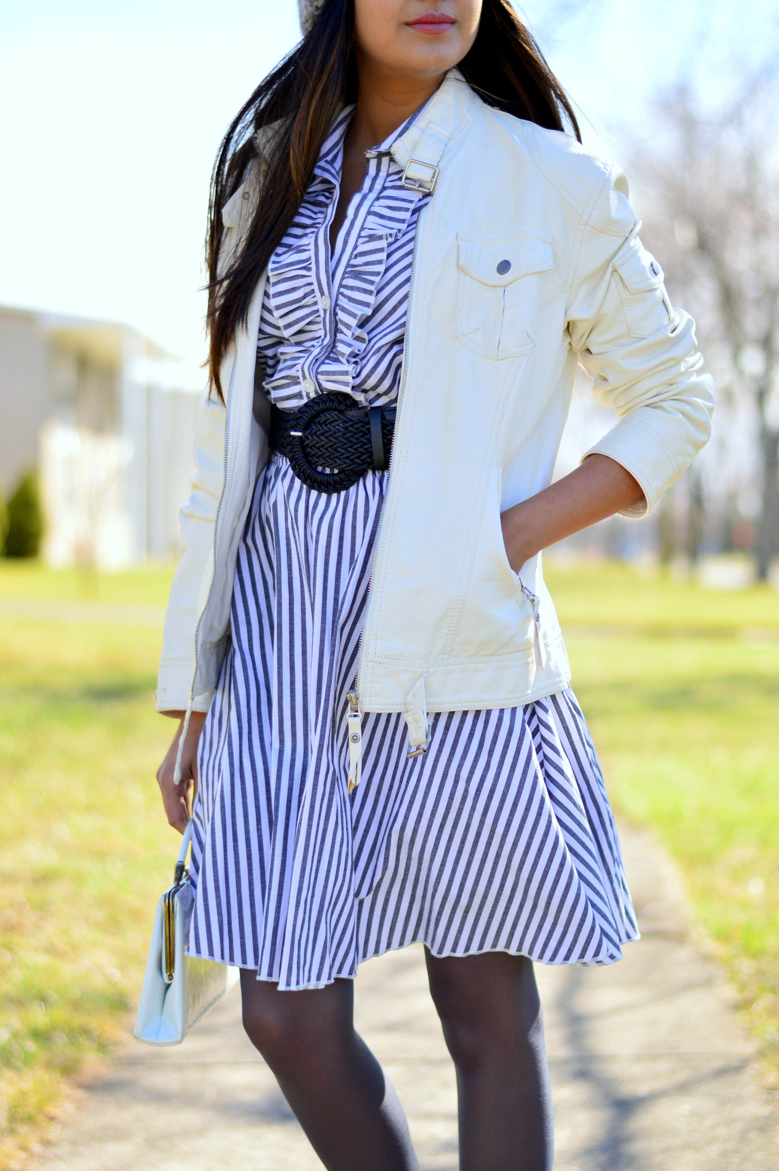 striped-shirtdress-pom-beanie-blogger-style 4