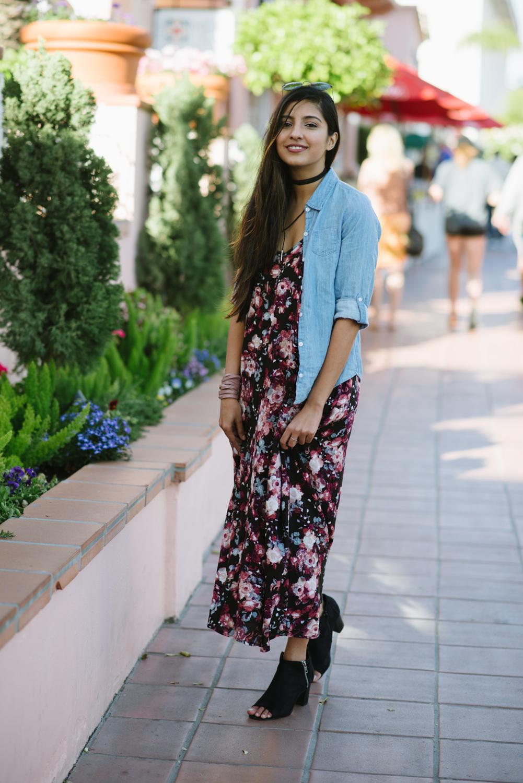 blogger-style-floral-maxi-dress-chambray-shirt