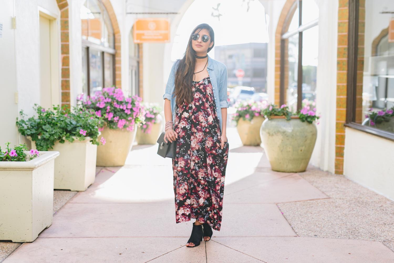 boho-casual-floral-maxi-dress-chambray-shirt