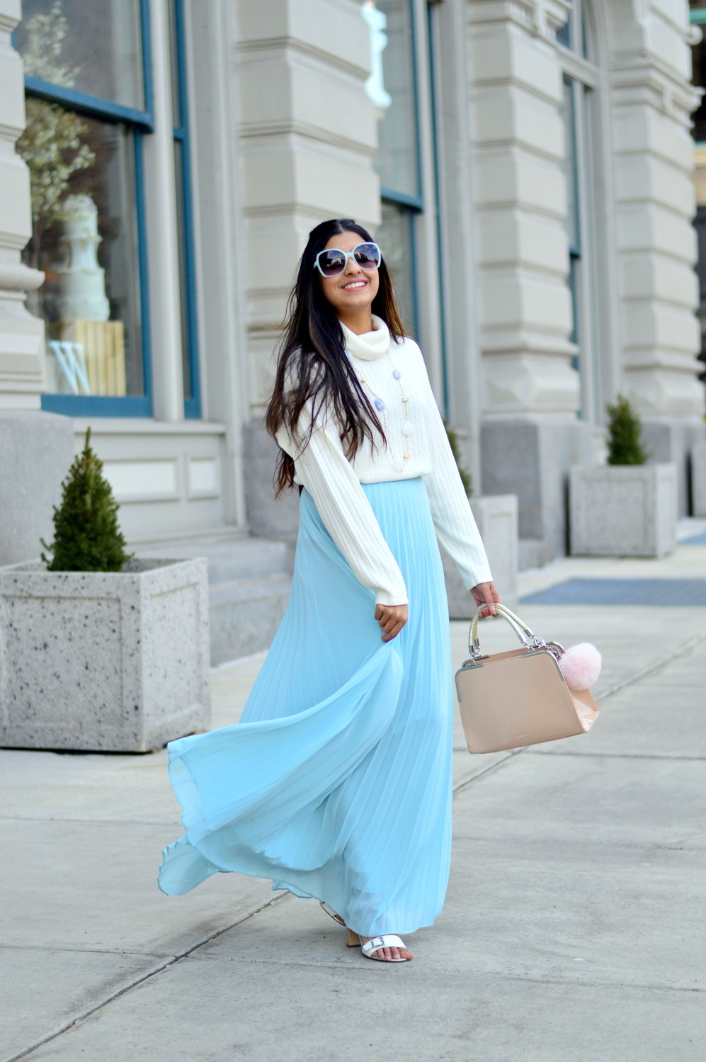 pleated-maxi-skirt-turtleneck-sweater-spring-style 6