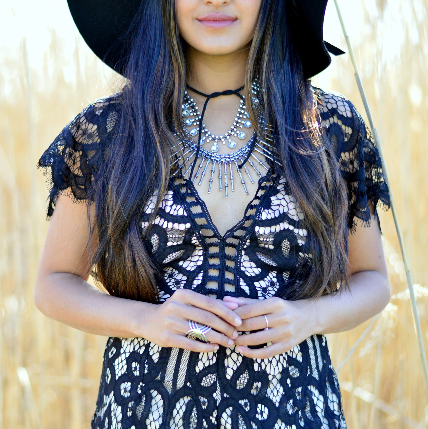 black-lace-romper-boho-festival-style-layered-necklaces 3