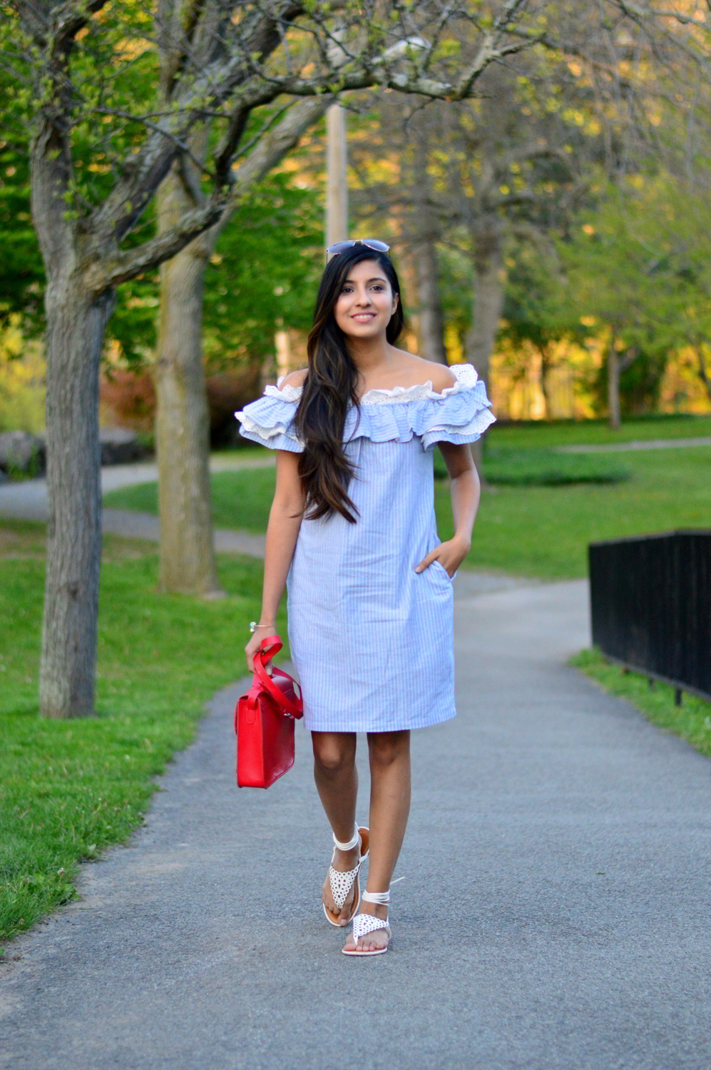 Off-Shoulder-Pinstriped-Chambray-Dress 1