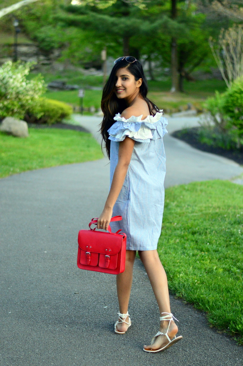 Off-Shoulder-striped-Chambray-Dress-summer-style 6