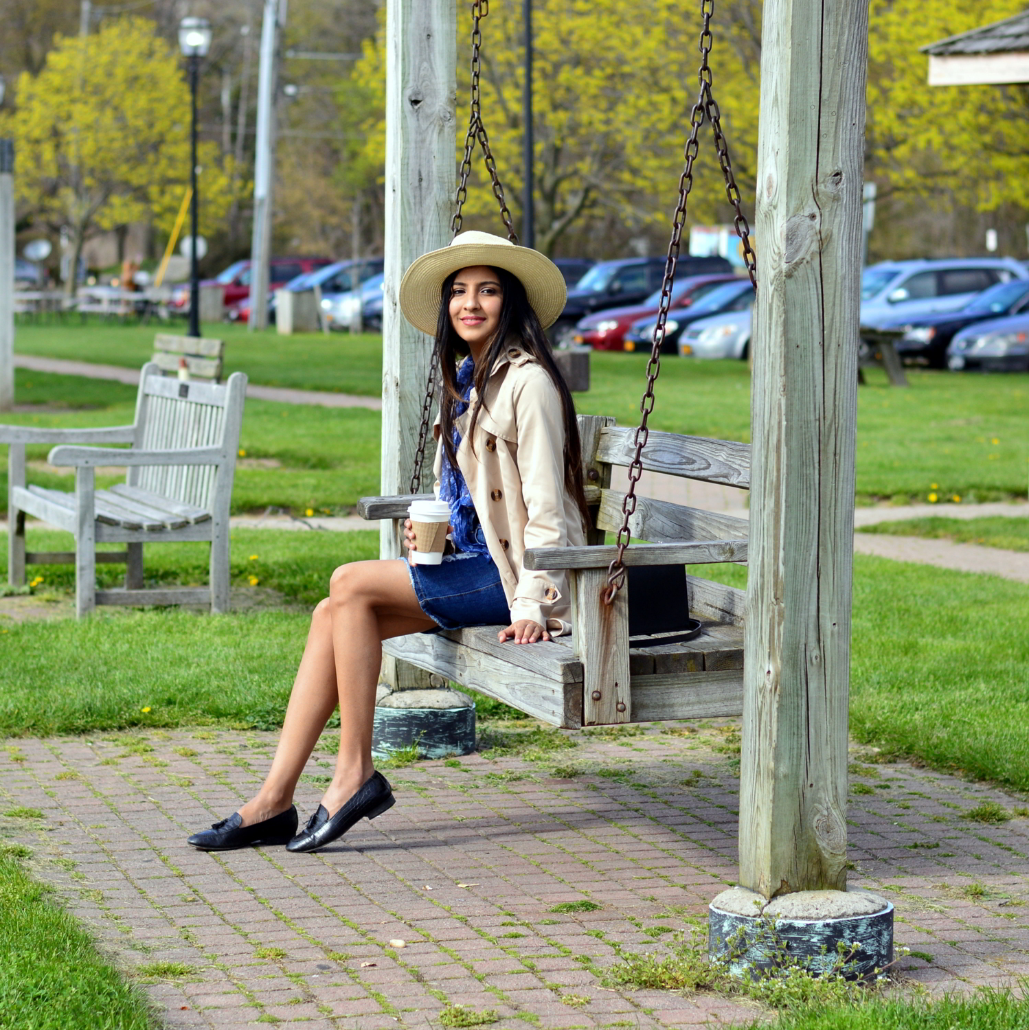 distressed-deim-skirt-retro-inspired-florals-trench-coat-outfit 4