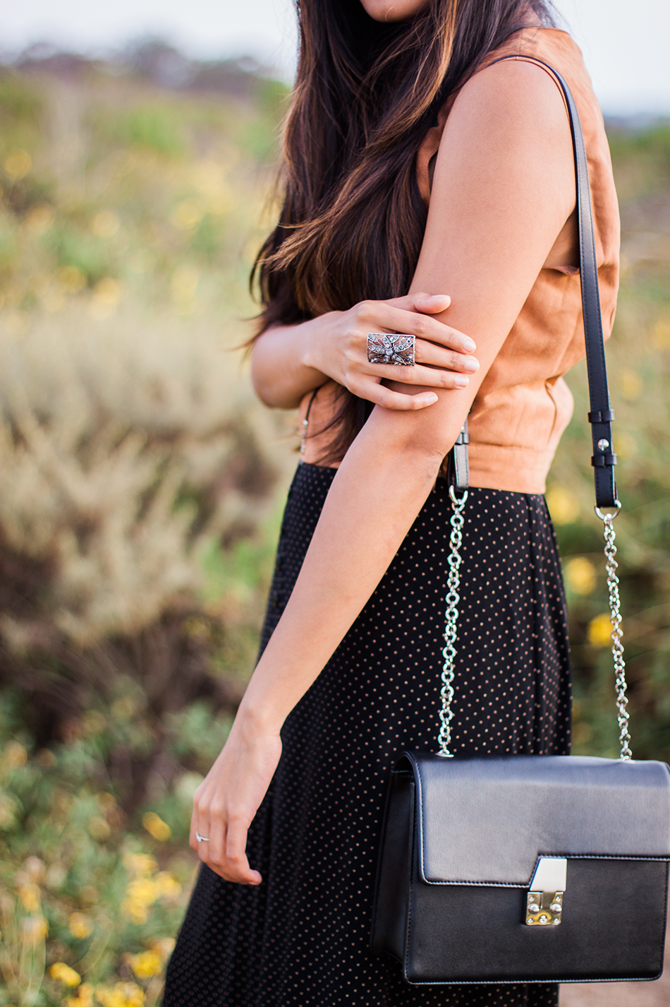 suede-top-maxi-buttondown-skirt-boho-chic-outfit 4