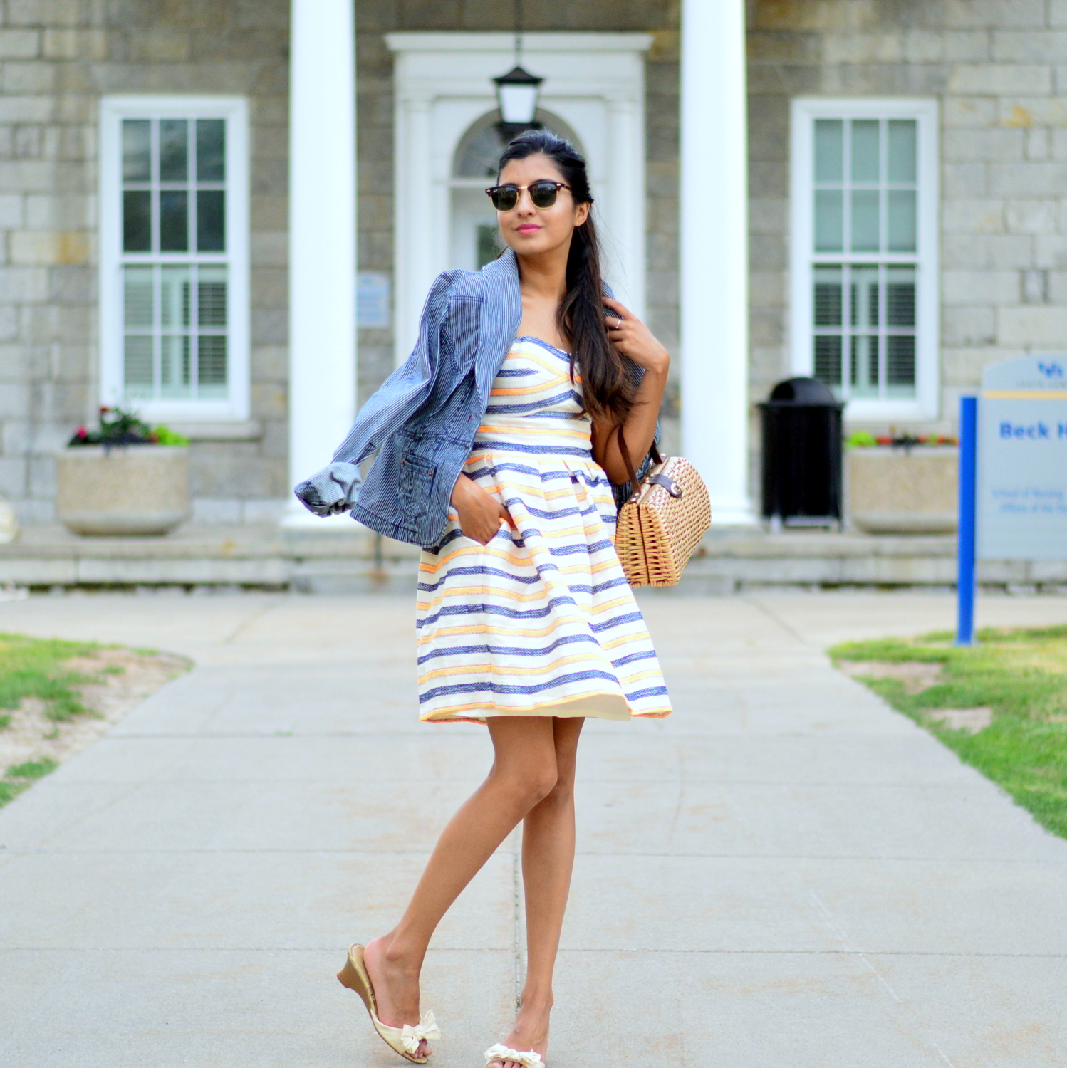 summer-striped-dress-denim-jacket-blogger-style-outfit 3