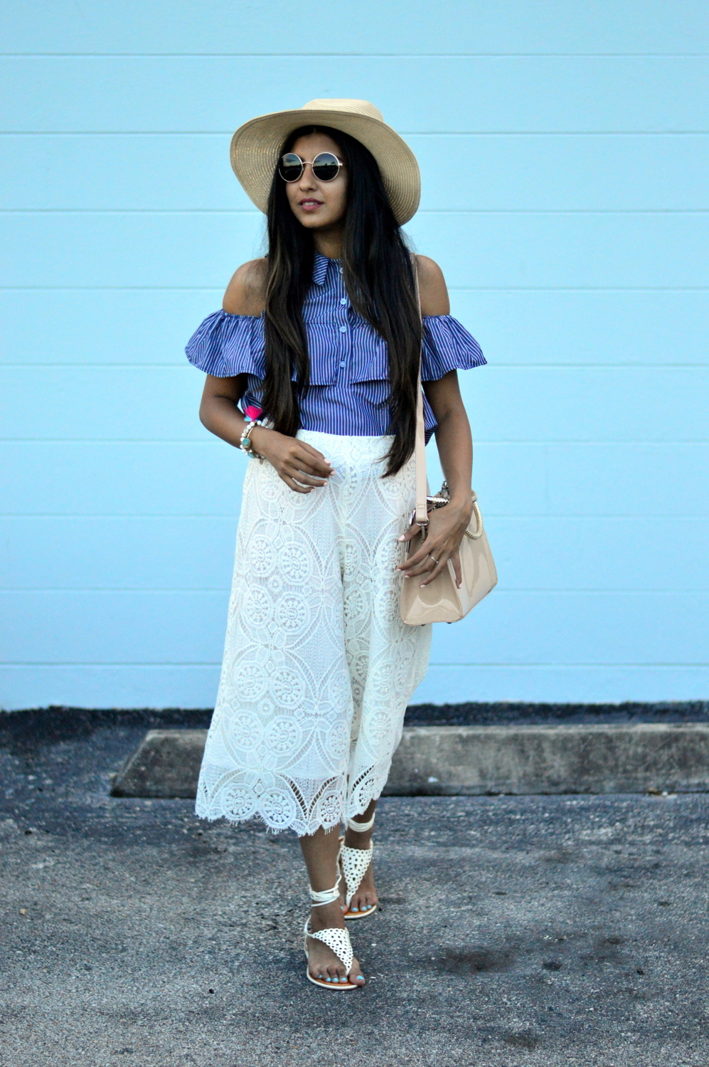 striped-cold-shoulder-lace-culottes-vacation-florida-summer-style 7
