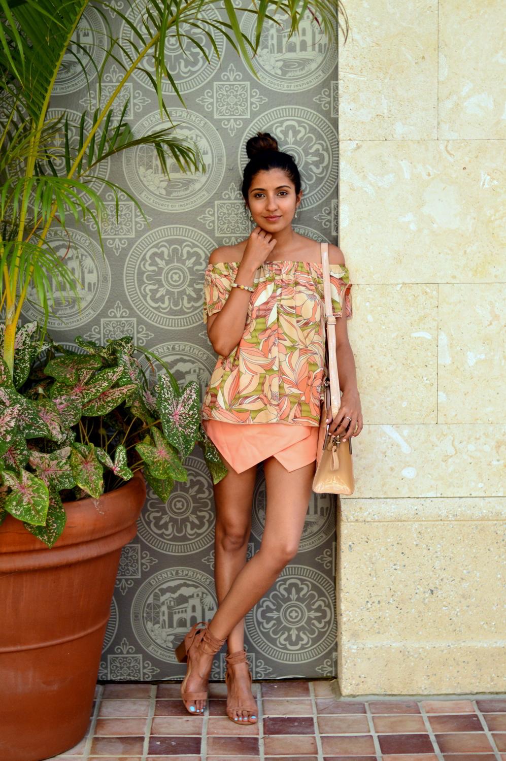 floral-off-the-shoulder-asymmetric-skort-lace-up-sandals 1