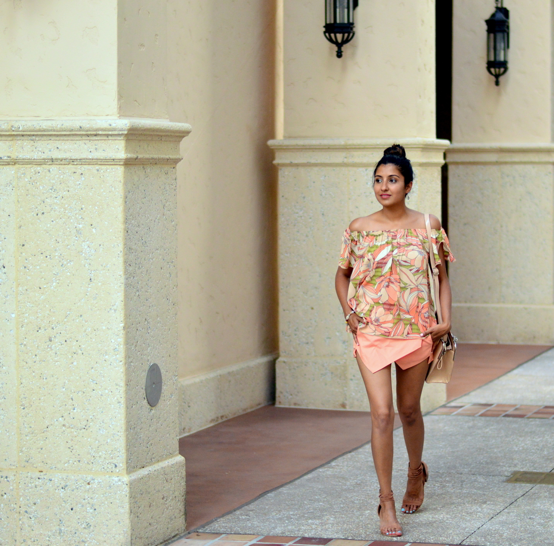 floral-off-the-shoulder-asymmetric-skort-lace-ups-summer-outfit 3